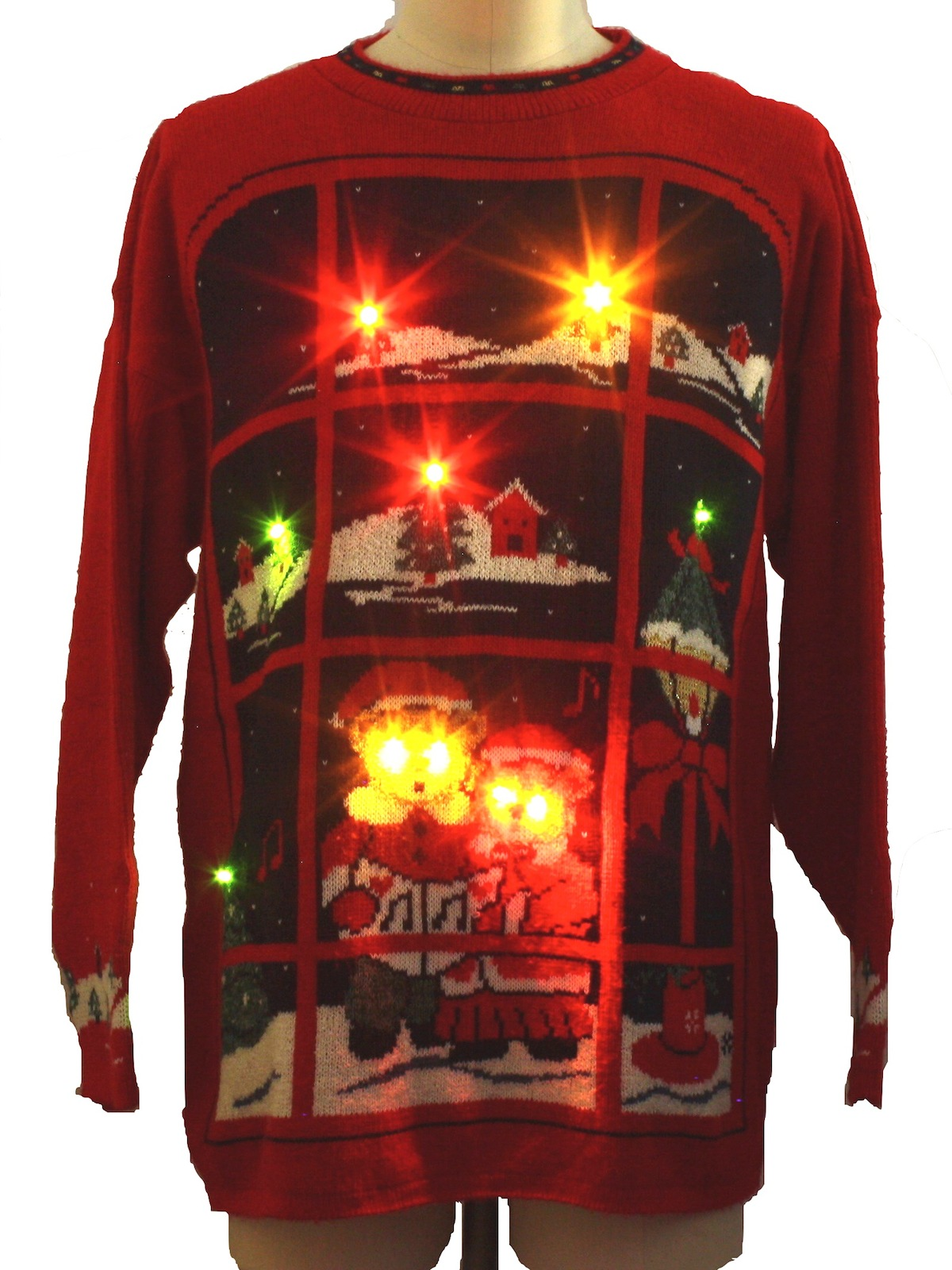 Eighties Bear Riffic Lightup Ugly Christmas Sweater 80s