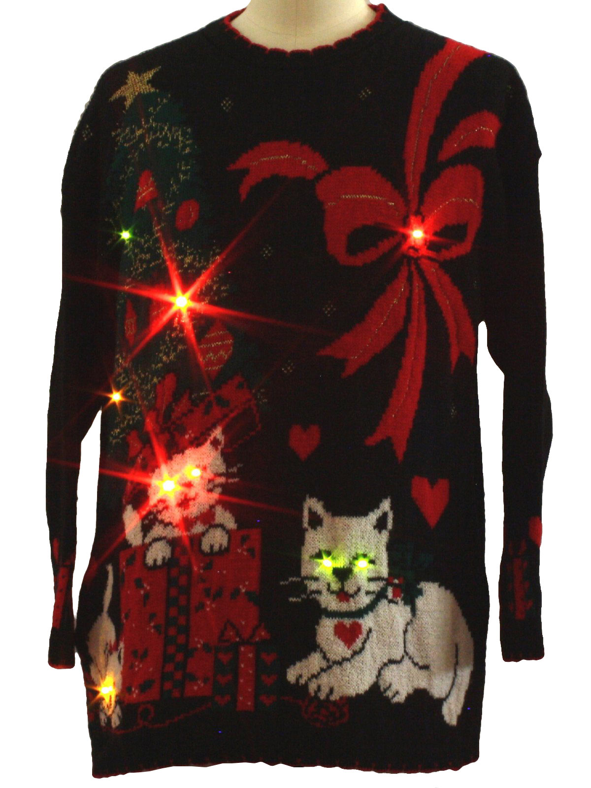 Vintage 1980s Cat Tastic Lightup Ugly Christmas Sweater 80s