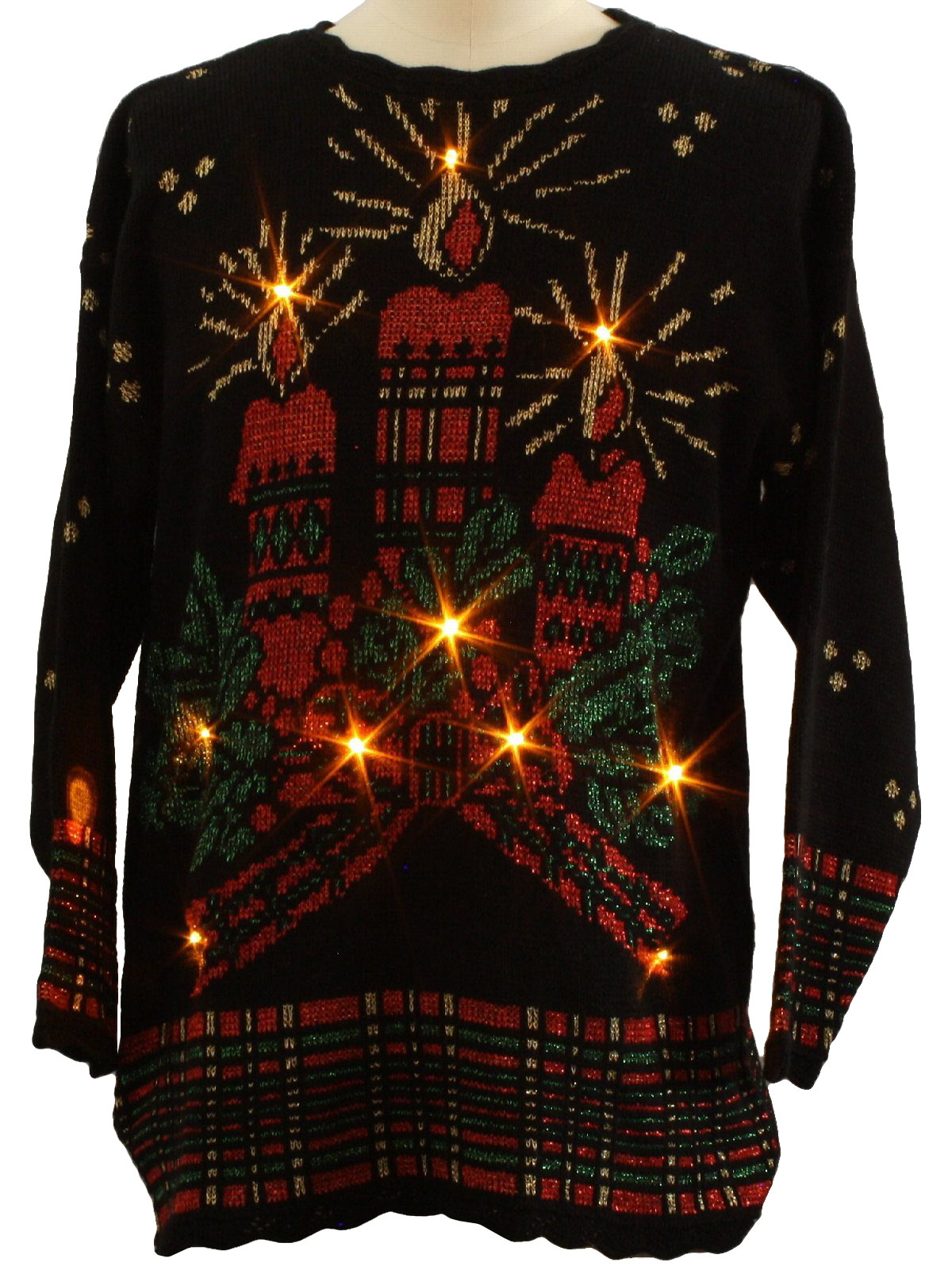 Vintage 1980 S Lightup Ugly Christmas Sweater 80s