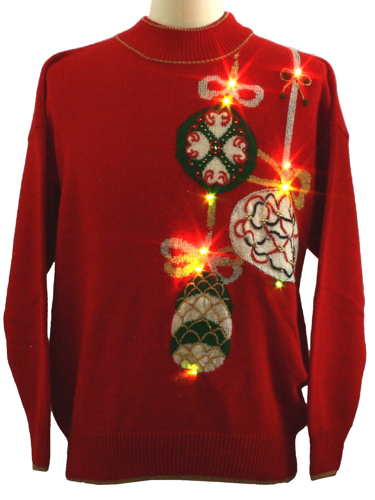 ugly lightup christmas sweater retro look dana scott unisex red background acrylic blend longsleeve multicolored flashing lightup pullover ugly christmas