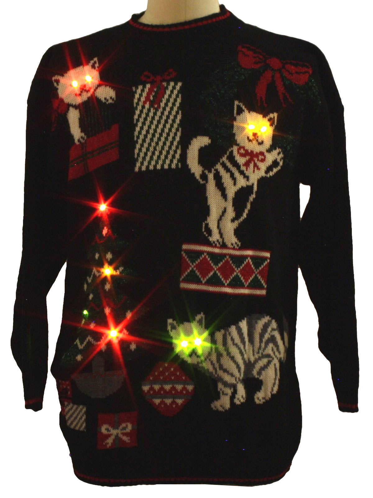 Eighties Cat Tastic Ugly Lightup Christmas Sweater 80s Authentic