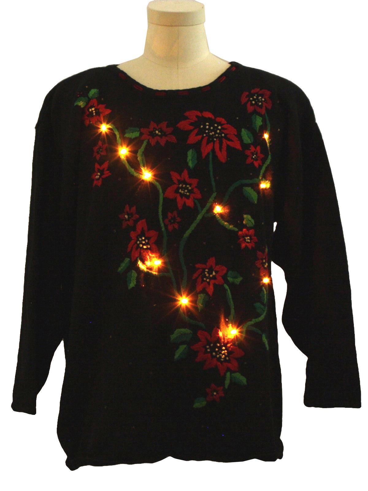 Ugly Christmas Poinsettia Lightup Sweater Chrysantheme