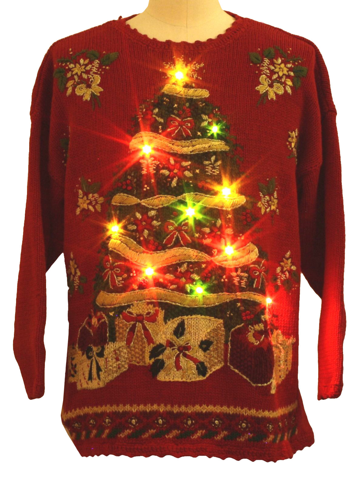 lightup ugly christmas sweater tiara international unisex red background cotton ramie blend longsleeve pullover ugly light up 10 led multicolored