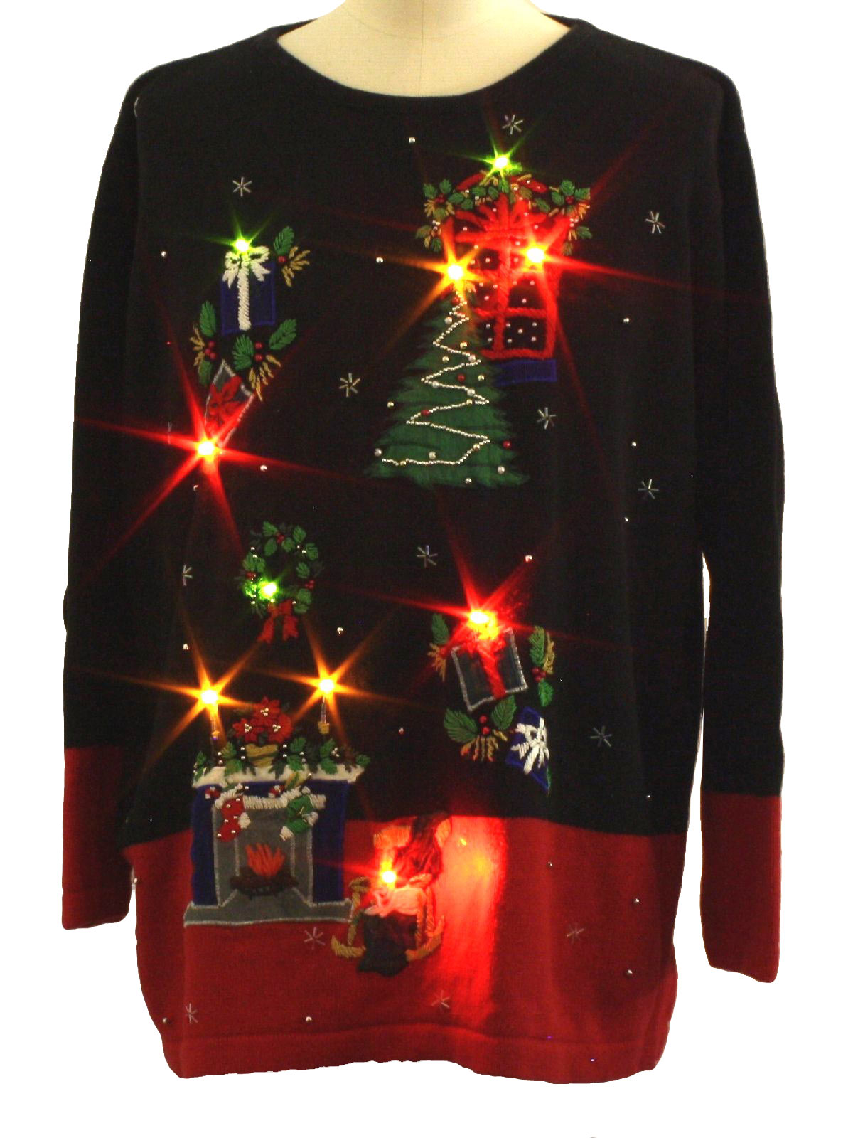 Lightup Ugly Christmas Sweater Bp Design Unisex Black And Red Background Ramie Cotton Blend