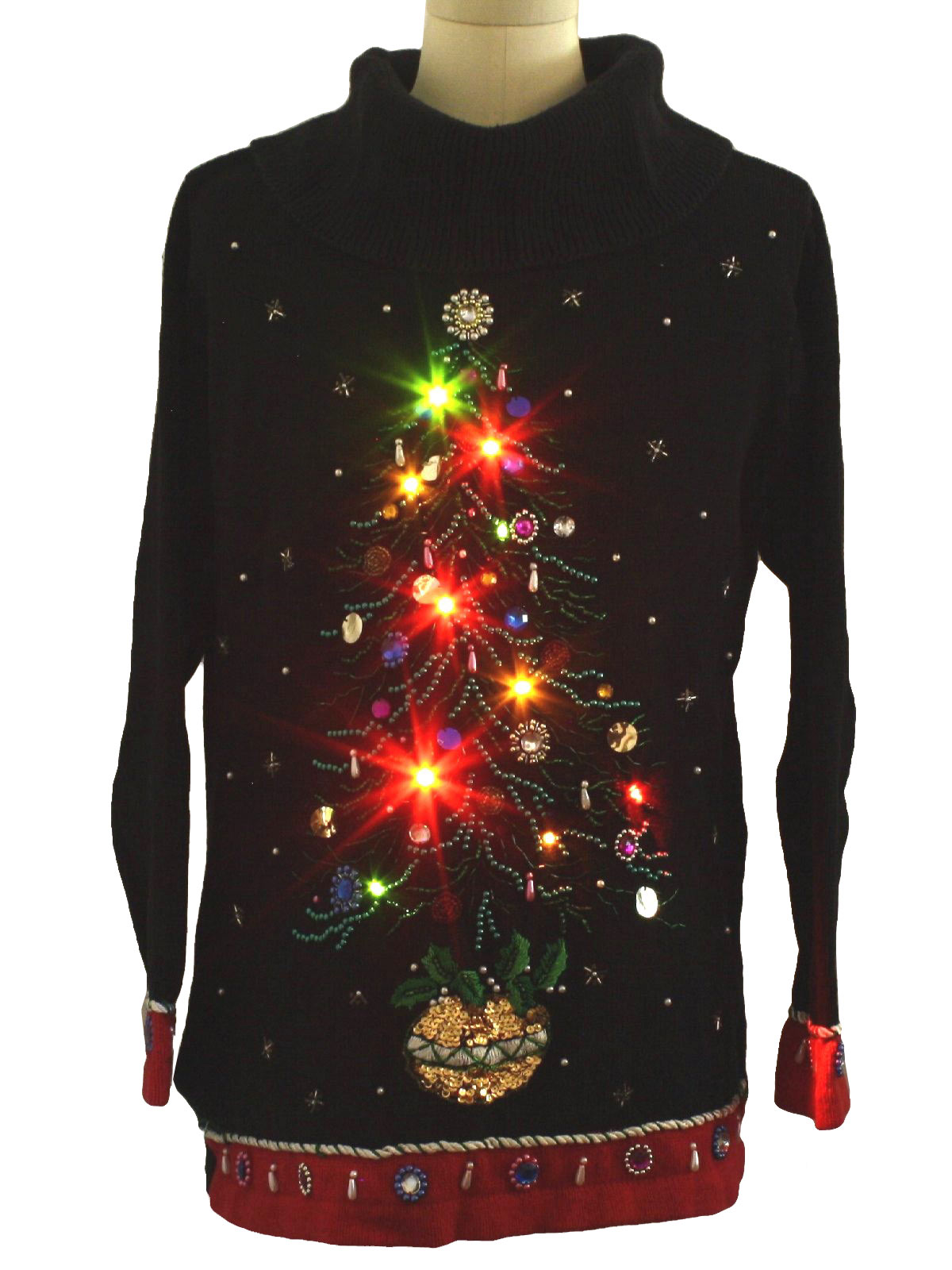 Womens Lightup Ugly Christmas Oversized Long Slouch Fit