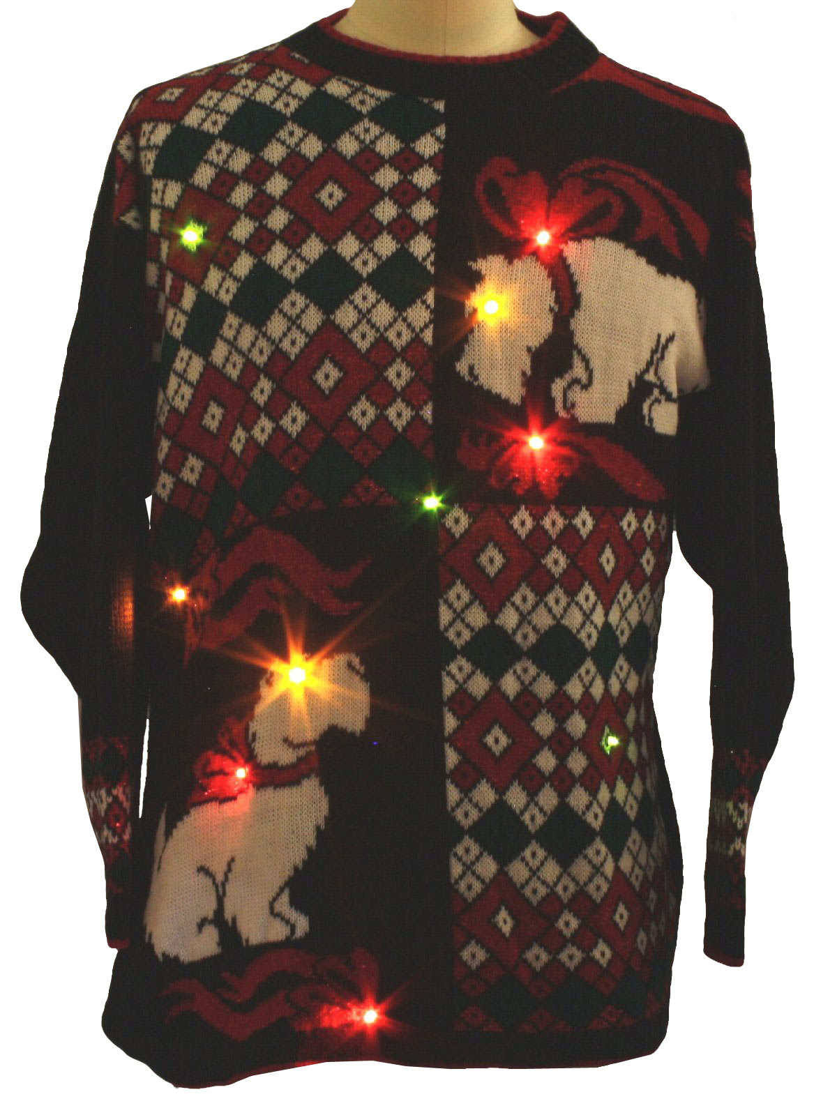 80s Lightup Ugly Christmas Scottie Dog Sweater 80s