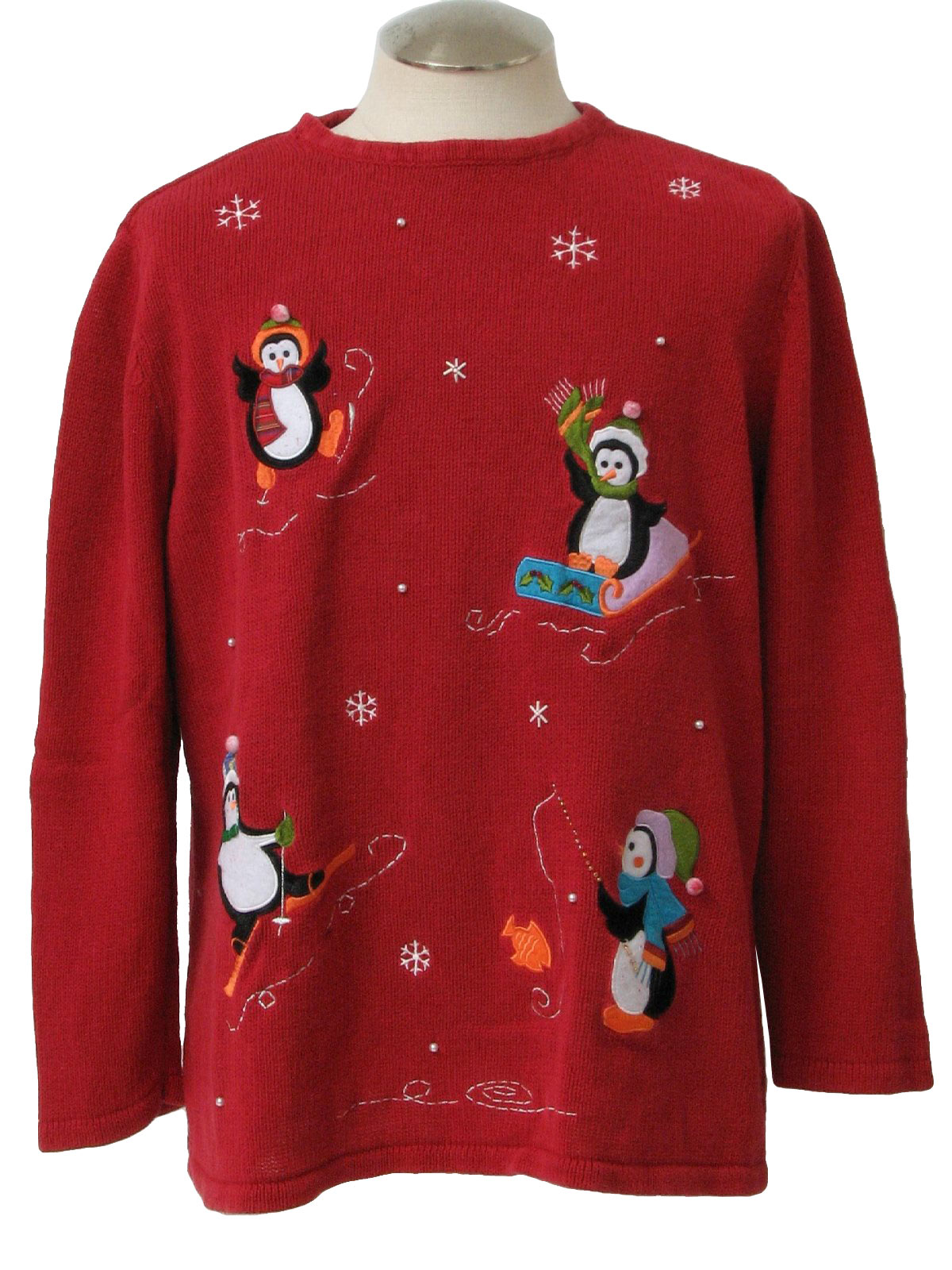 Eighties vintage ugly christmas sweater 80s holiday for Fishing christmas sweater