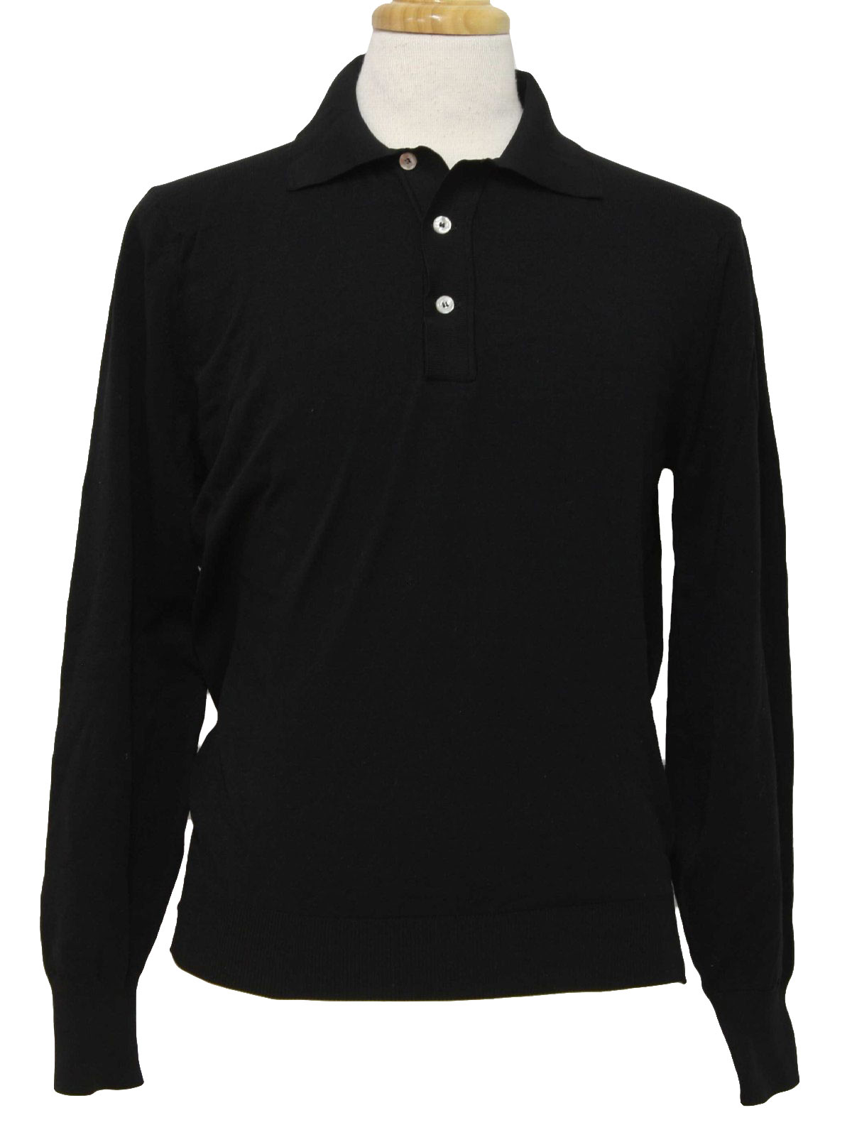 Retro 1970 39 s shirt ban 70s ban lon mens black nylon for Three button collar shirts