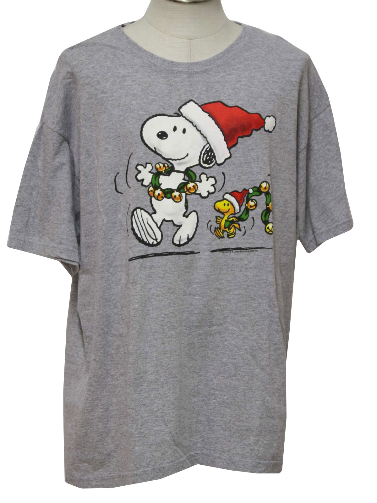 ugly christmas t shirt to wear under your ugly christmas sweater peanuts by gildan unisex heather gray cotton jersey with white black red green - Snoopy Christmas Shirt