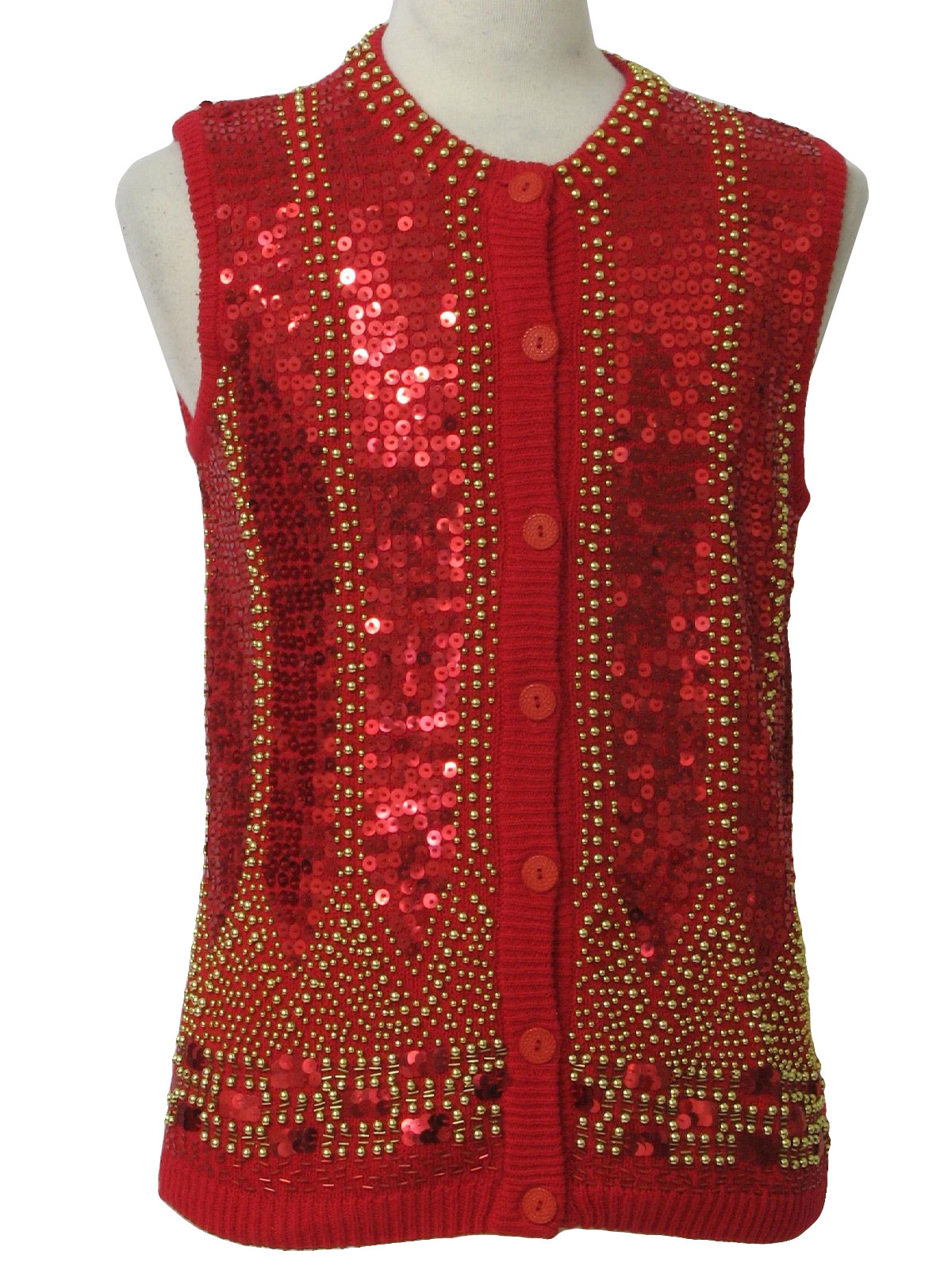 Womens Ugly Christmas Sequined Cocktail Sweater Vest