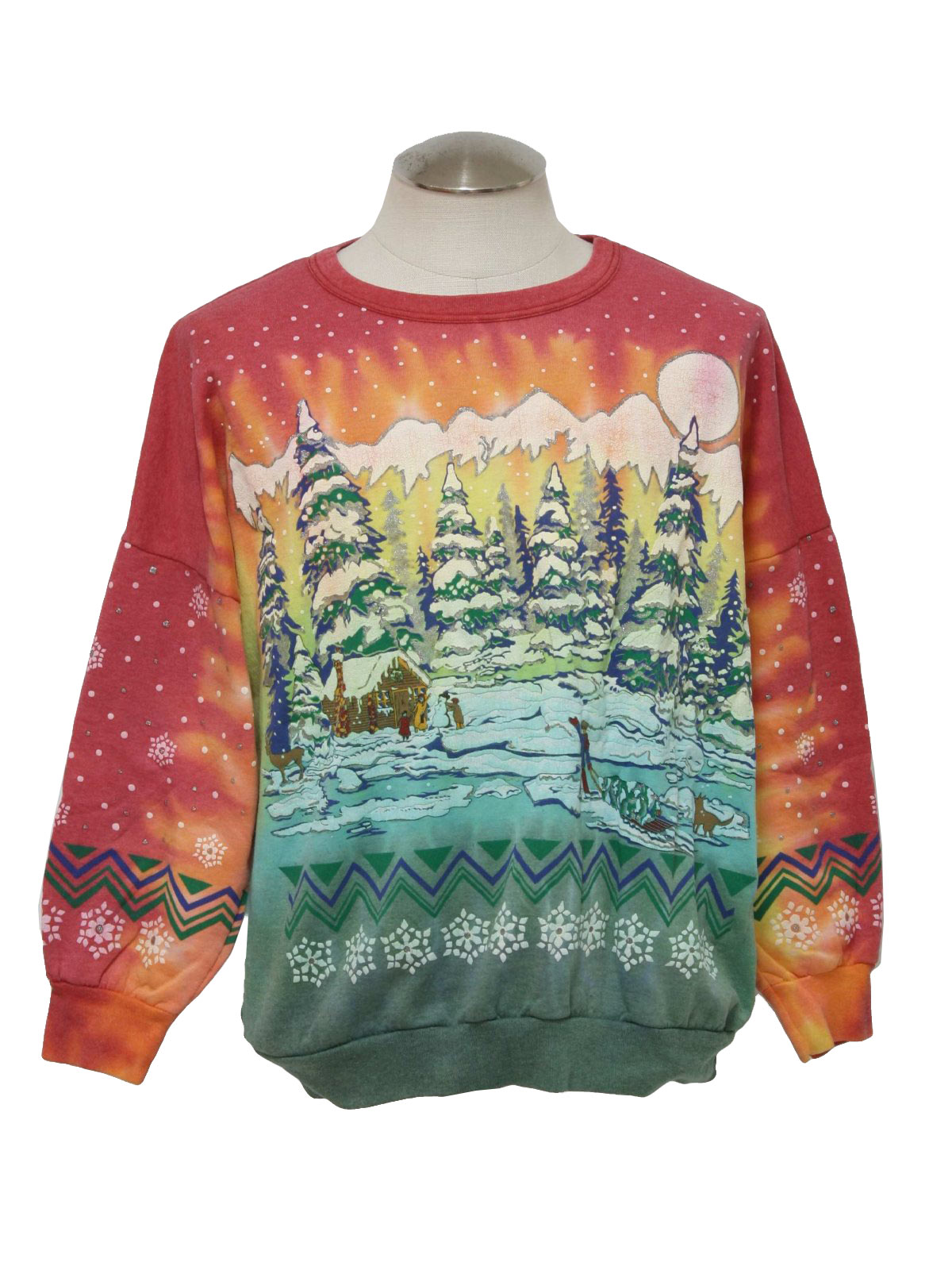 unisex tie dyed ugly christmas sweatshirt 80s holiday time unisex tie ...