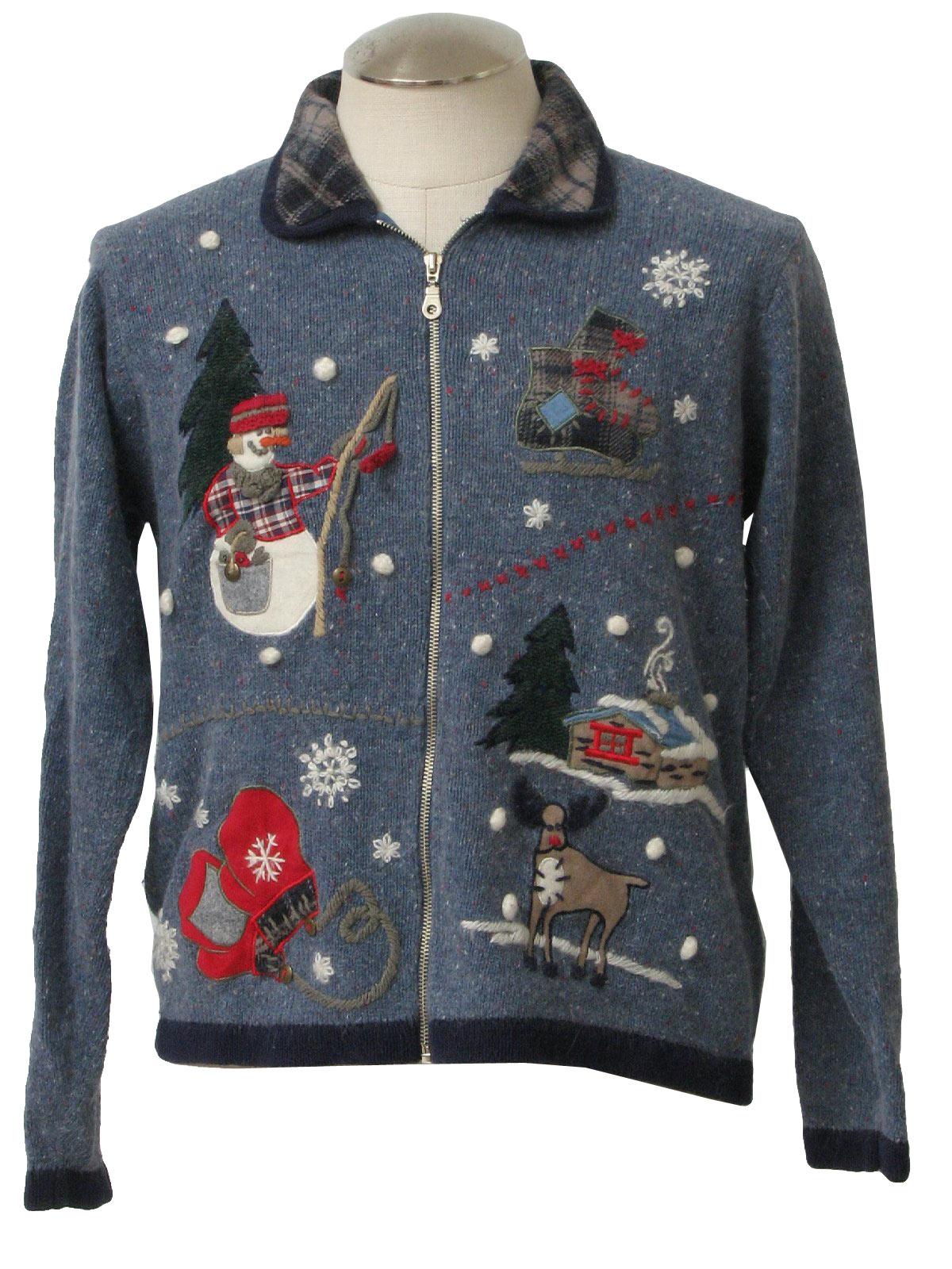 Ugly christmas sweater victoria jones unisex mottled for Fishing ugly christmas sweater
