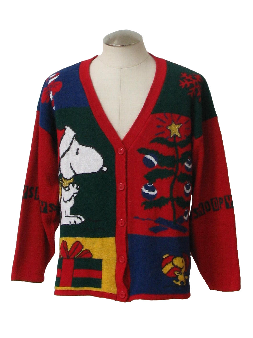 1980's Vintage Snoopy Ugly Christmas Cardigan Sweater: 80s ...