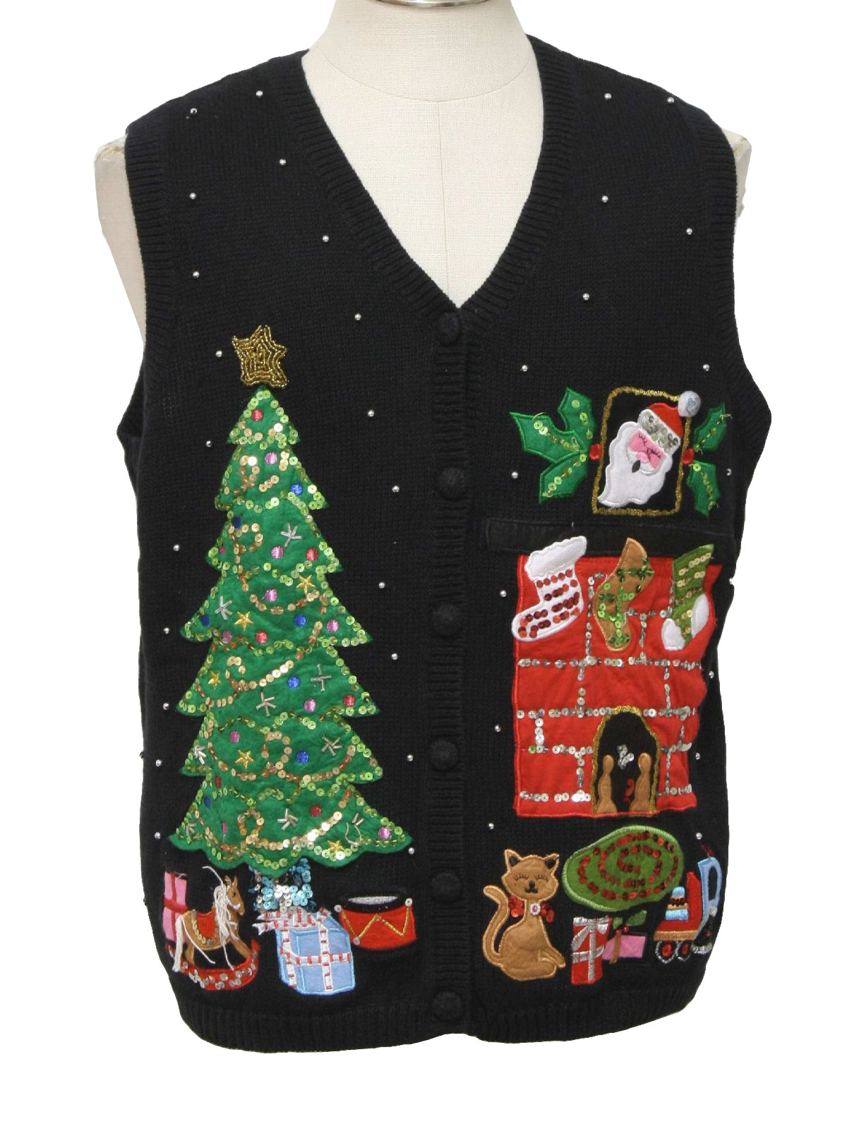 Ugly Christmas Sweater Vest Basic Editions Unisex Black Background Ramie Cotton Blend Button