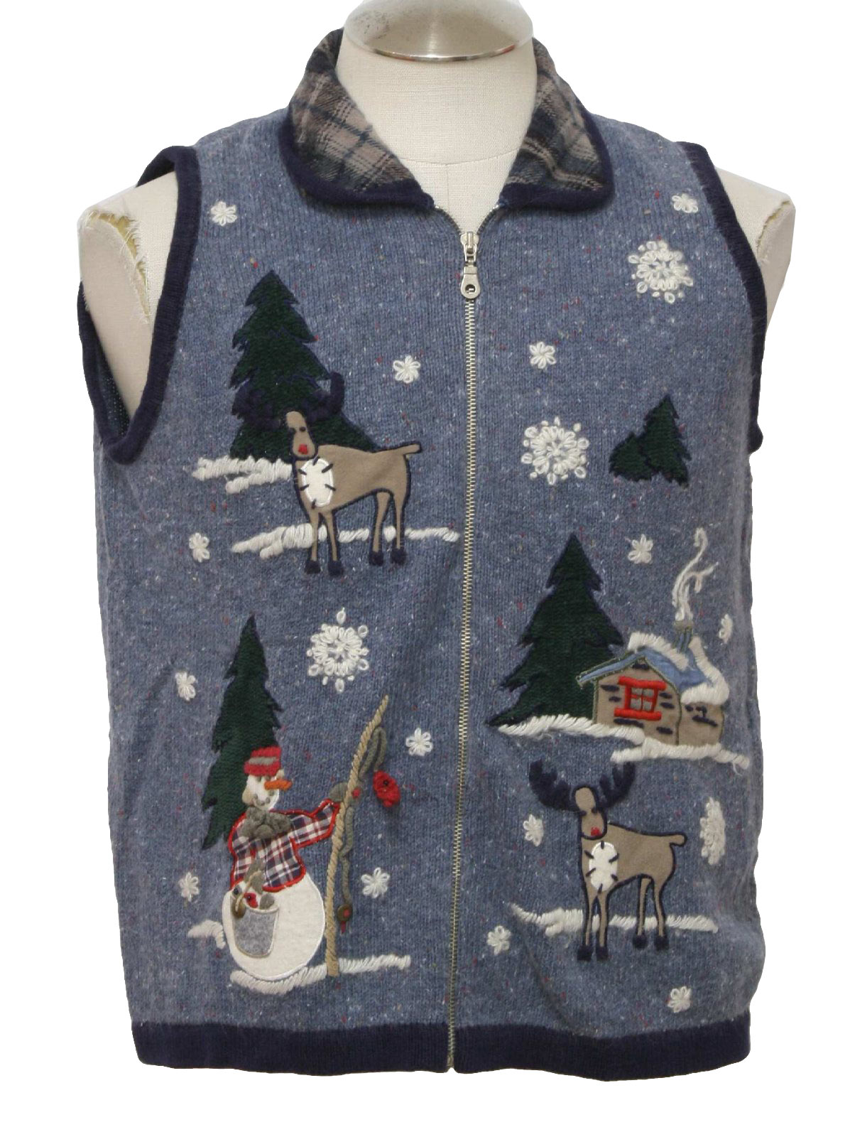 Ugly christmas sweater vest victoria jones unisex blue for Fishing christmas sweater