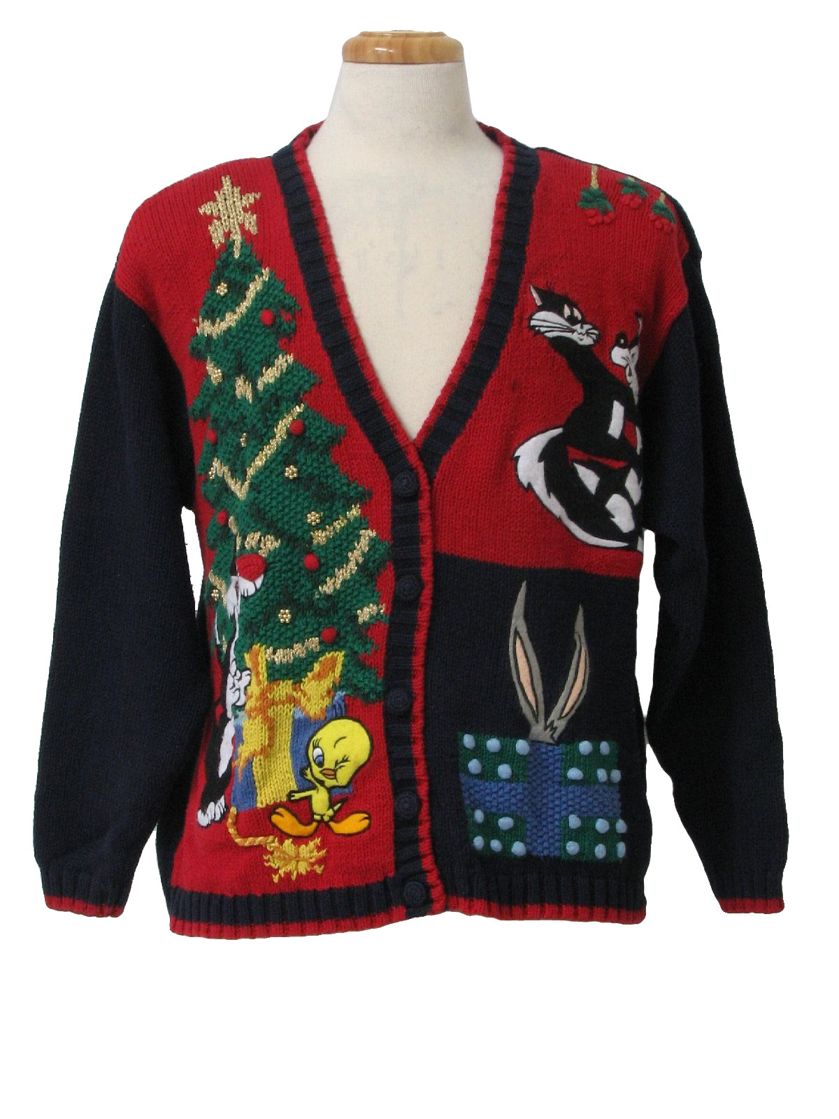 Looney Toons Ugly Christmas Cardigan Sweater: -Looney Toons ...