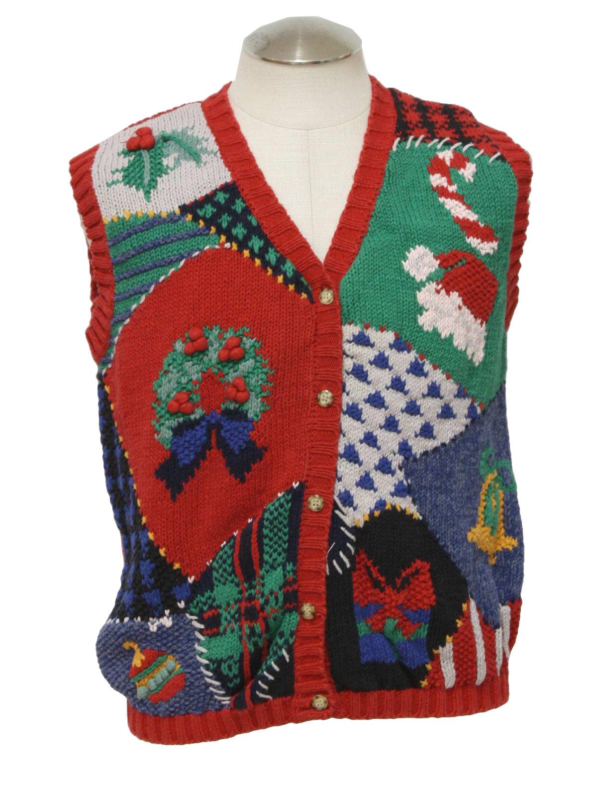Ugly christmas sweater vest gladys bagley unisex red for Over the top ugly christmas sweaters