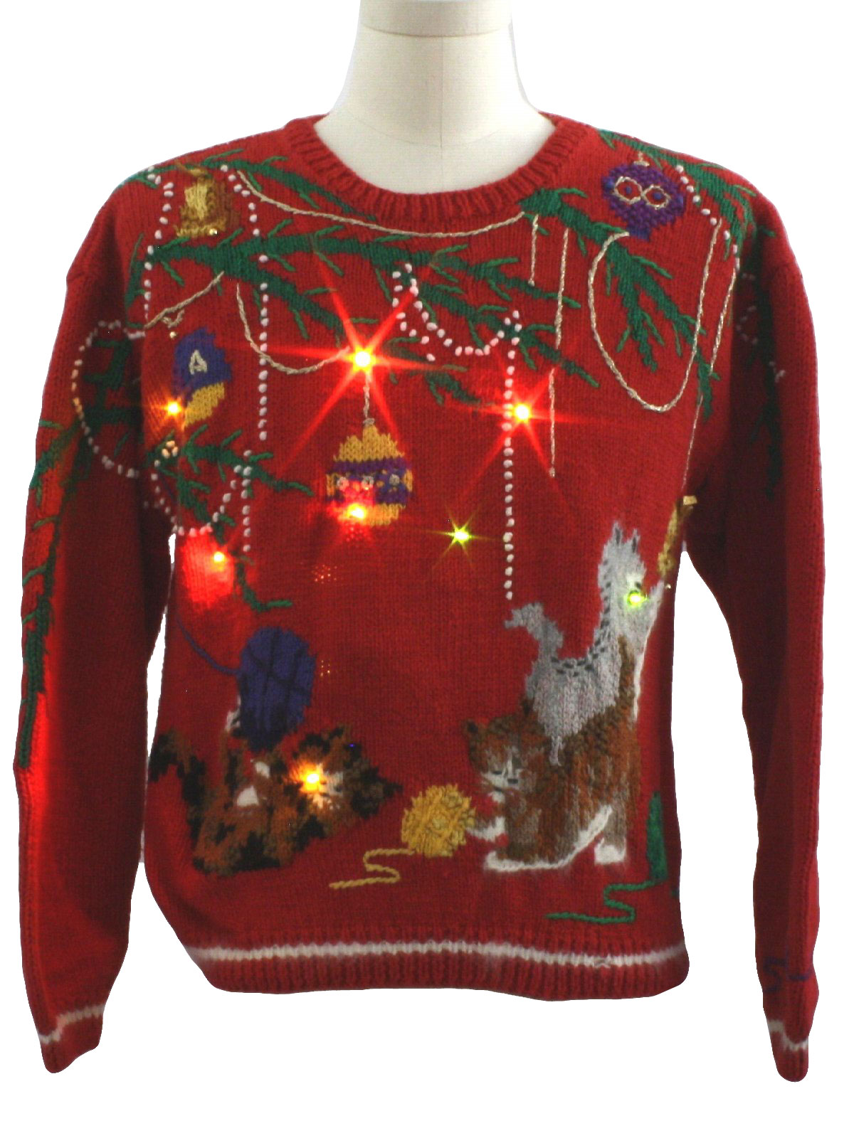 Womens Cat-Tastic Lightup Ugly Christmas Sweater: -Talbots- Womens ...