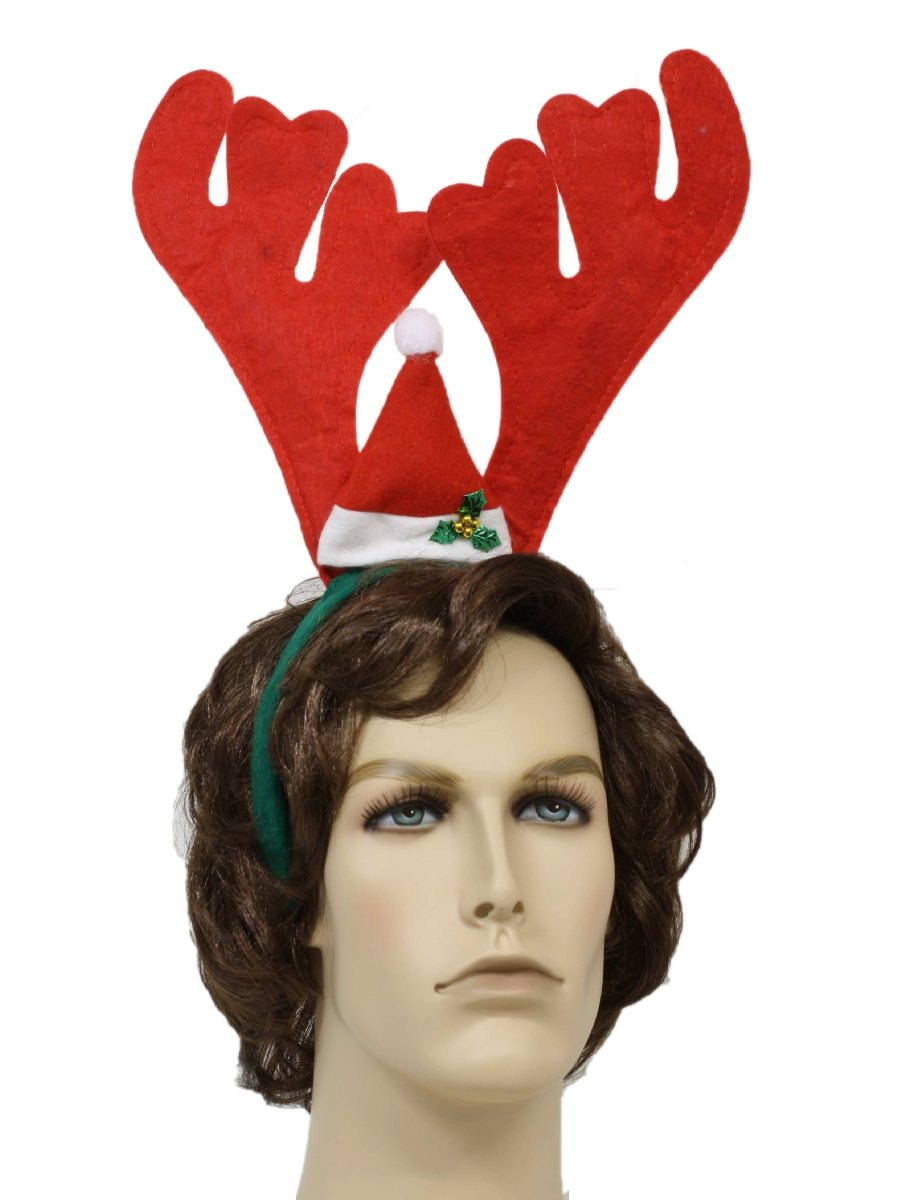 Ugly Christmas Red Reindeer Antlers With Santa Hat Headband 90s Antler Unisex Over Sized Felted White And Green Small
