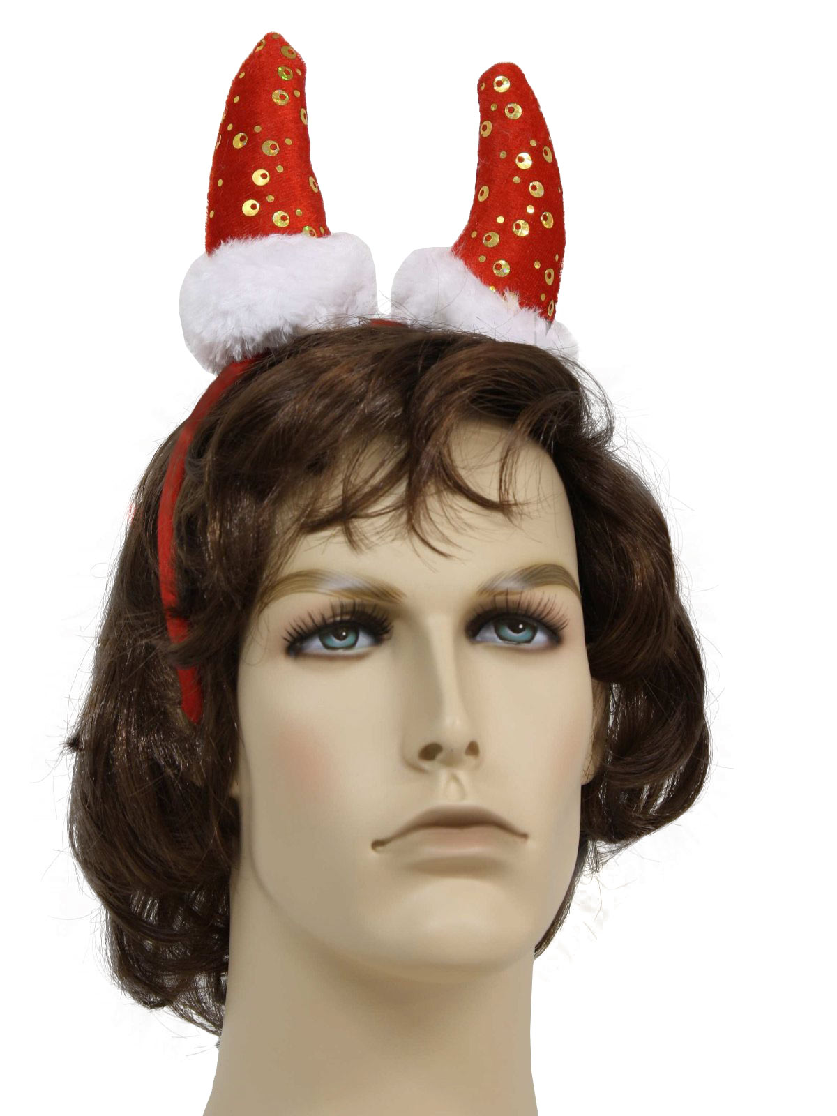 1ad6655e06345 Ugly Christmas Horned Santa Hat Devil Headband