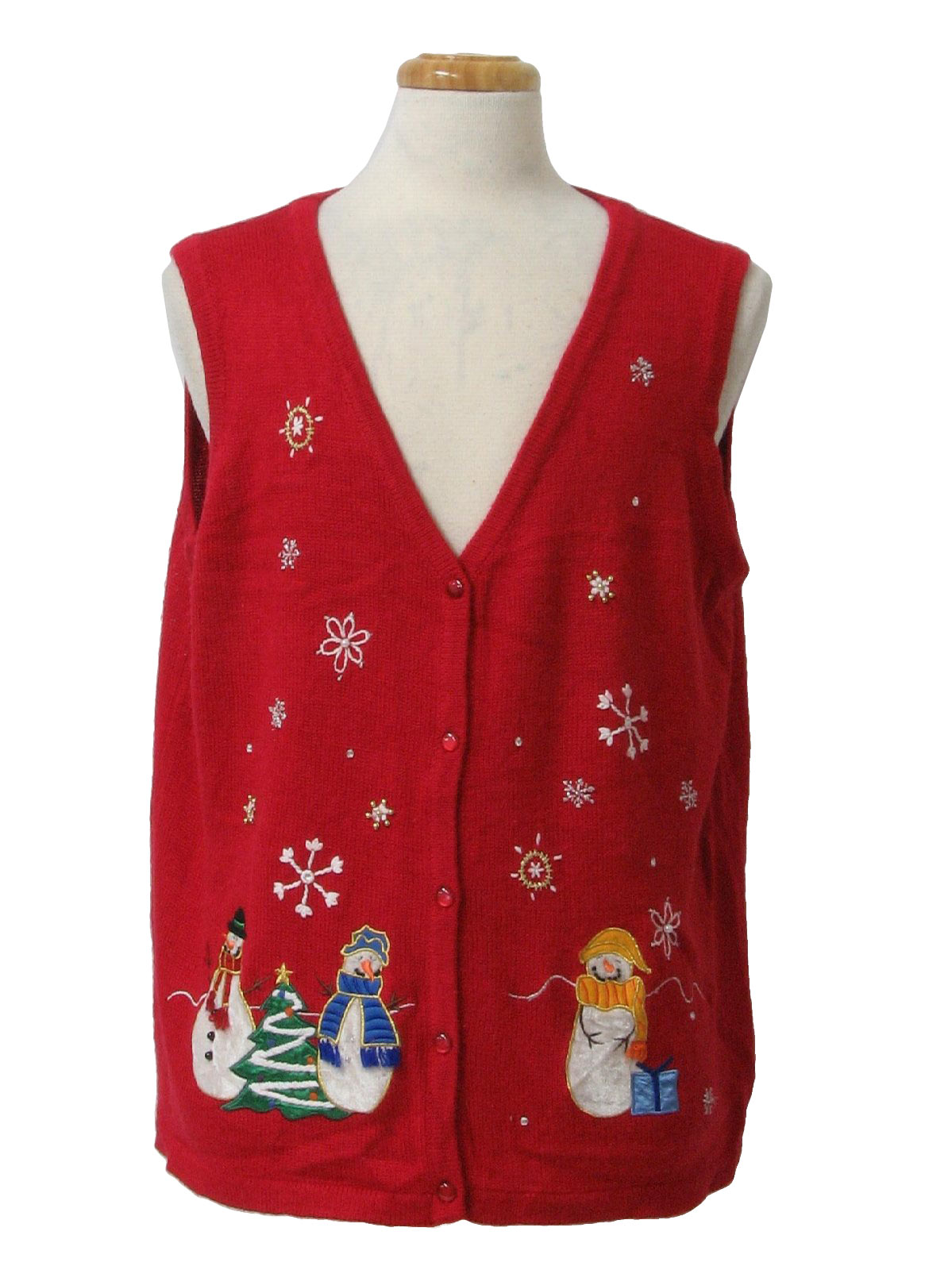Ugly Christmas Sweater Vest care Label Unisex Red