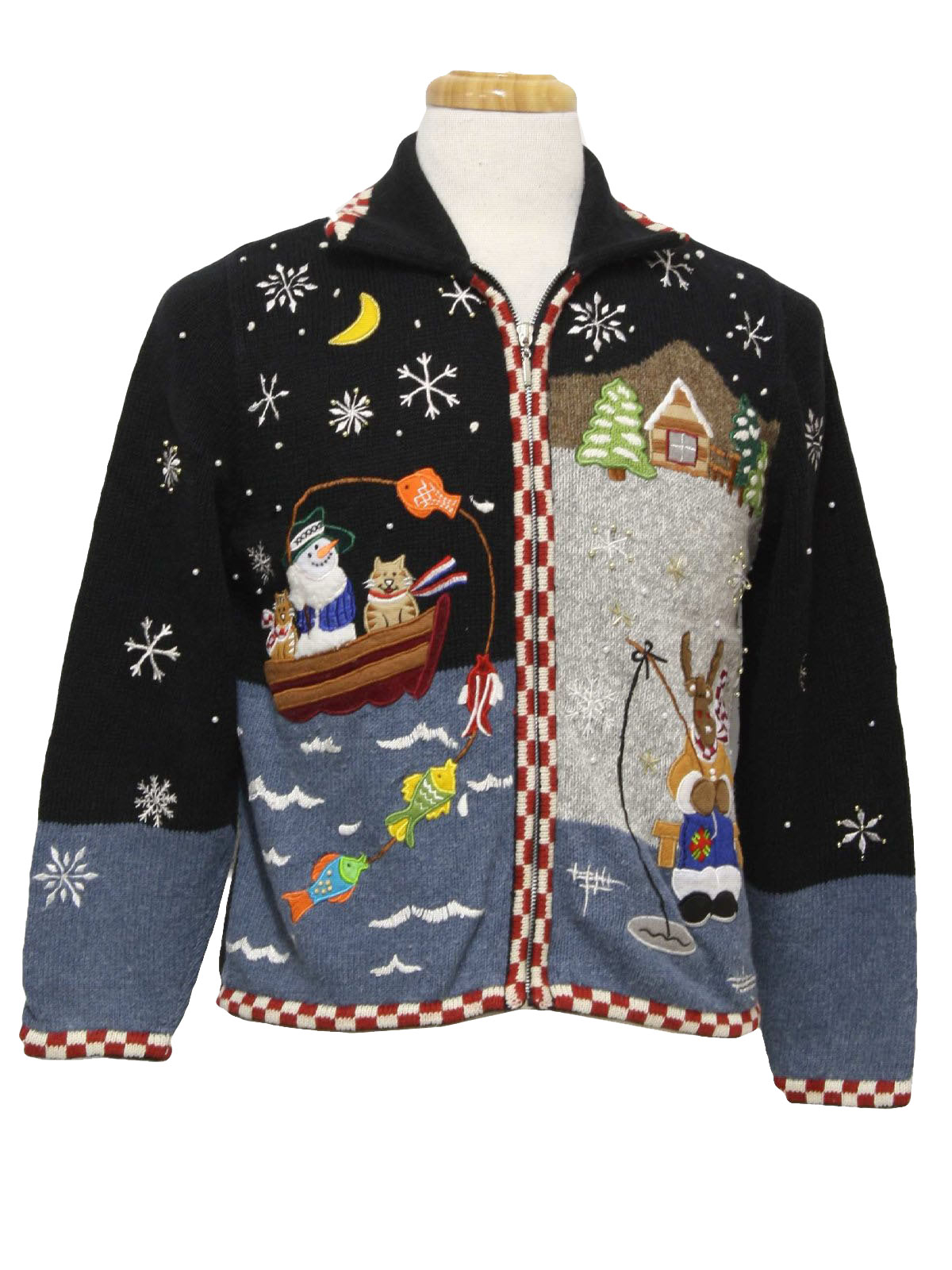 Womens ugly christmas sweater ambra womens black and for Fishing christmas sweater