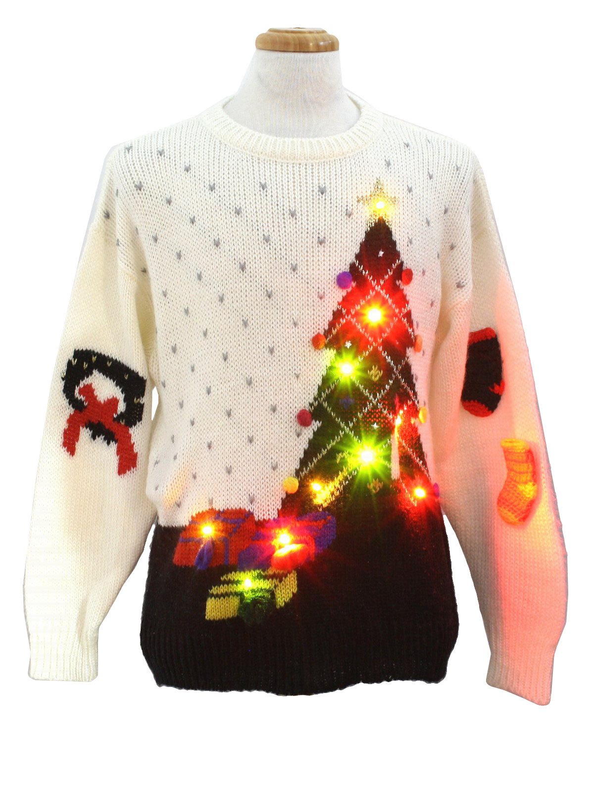 Fetagetti 1980s Vintage Lightup Ugly Christmas Sweater