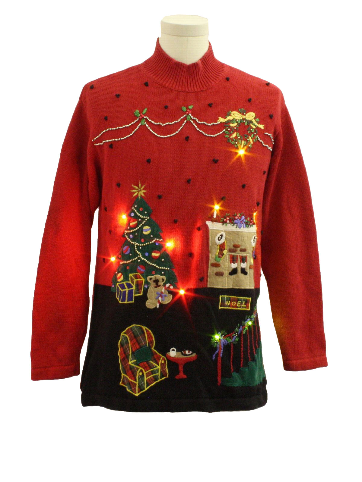 Lightup Ugly Christmas Sweater Missing Label Unisex Red Background Cotton And Ramie Blend