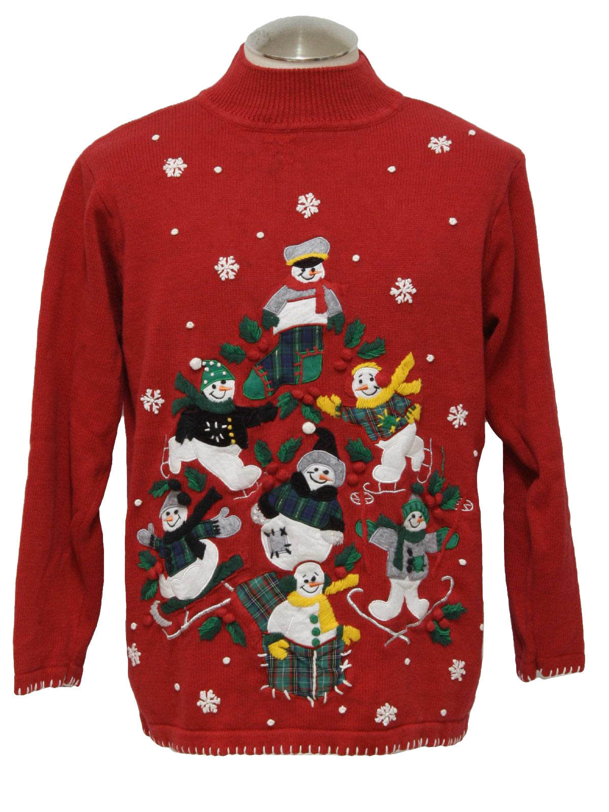 Ugly Christmas Sweater: -B P Design- Unisex red background cotton