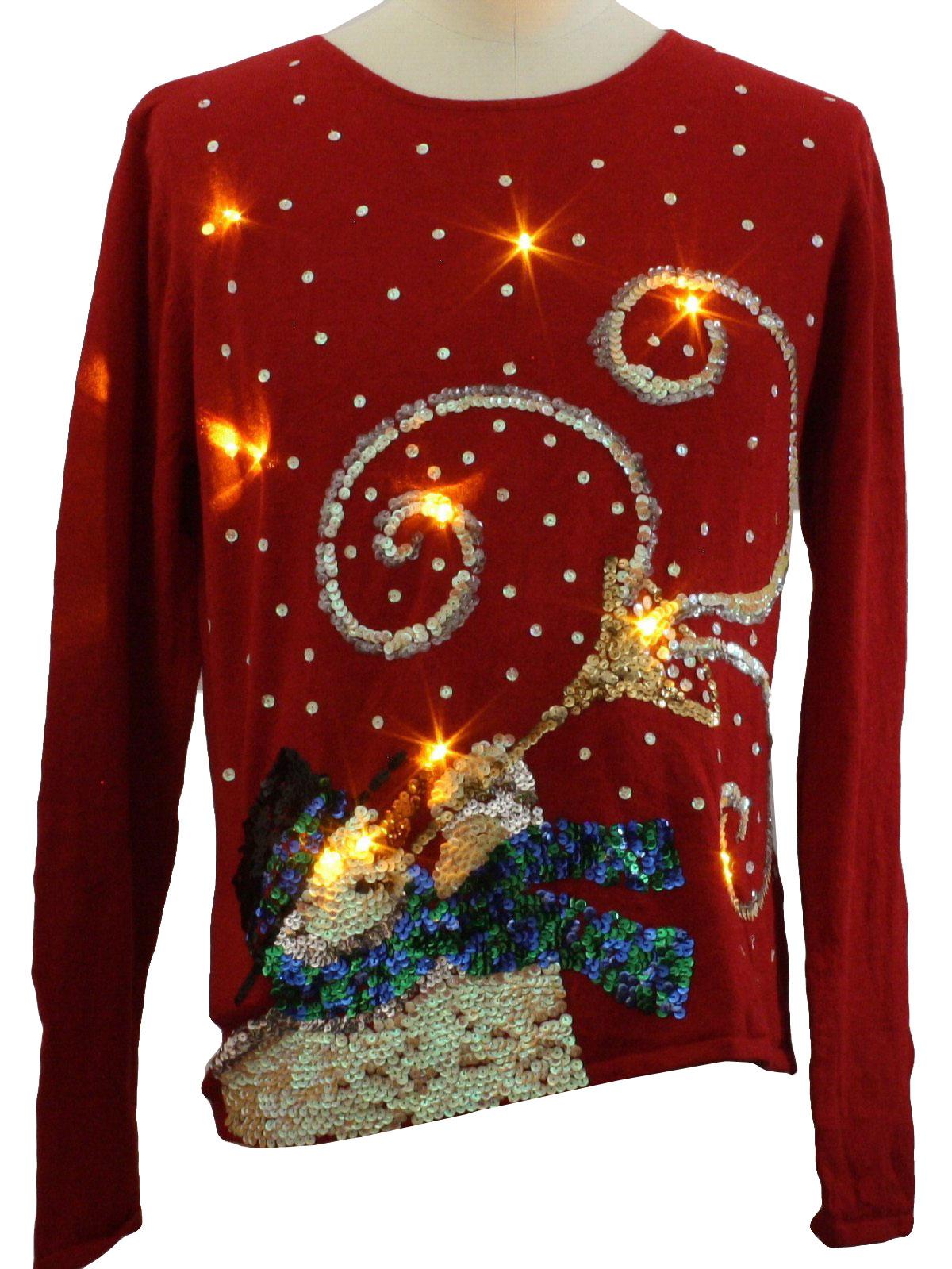 Womens lightup ugly christmas sweater tiara for Over the top ugly christmas sweaters