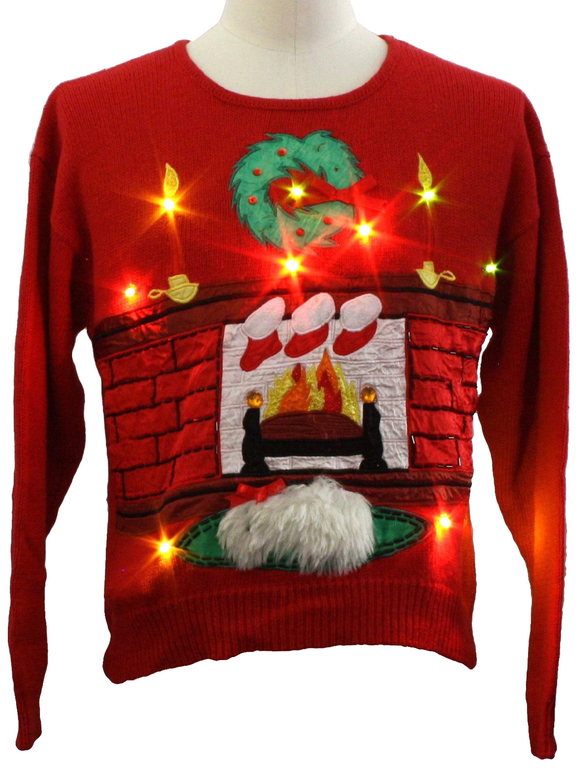 Womens Lightup Ugly Christmas Sweater Accent Missing Label Womens Red Background Acrylic