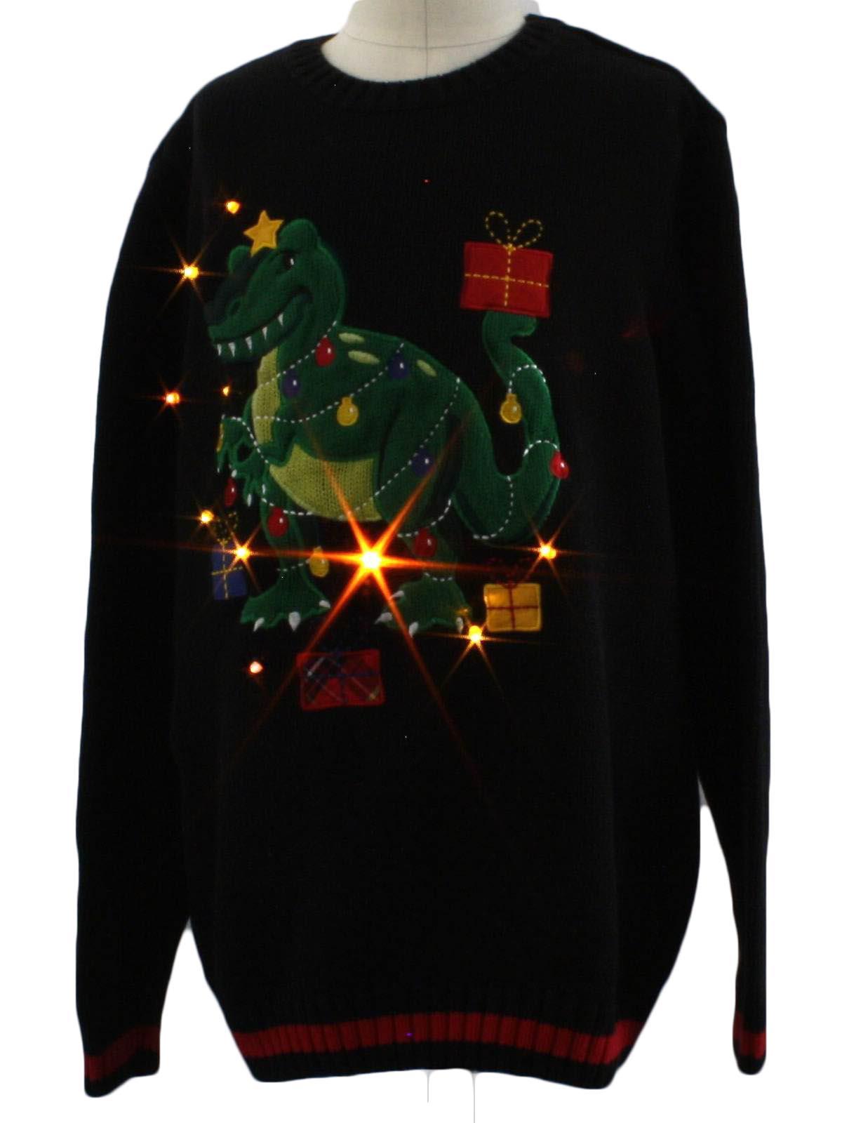 Childs Lightup Dinosaur Ugly Christmas Sweater: -Greendog- Unisex ...