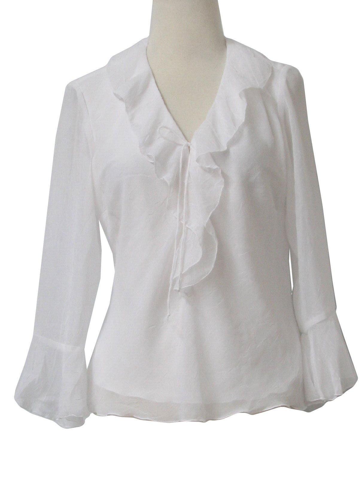 sheer polyester with knit lining three quarter sleeve pullover shirt