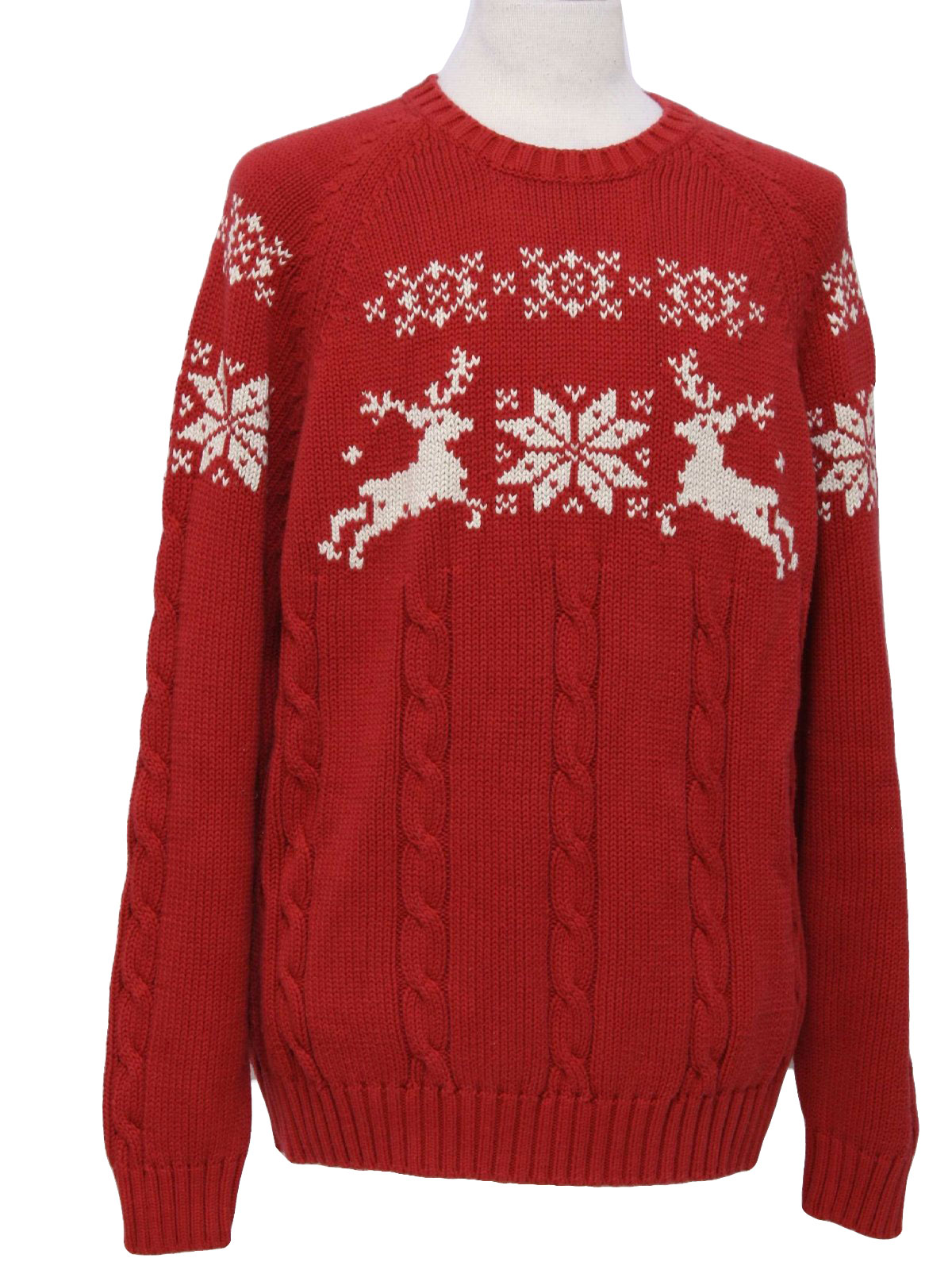 dc9270cffa Retro 1990s Sweater  90s -Lands End- Mens red background with white banded  snowflake and reindeer design thick cotton cable knit pullover