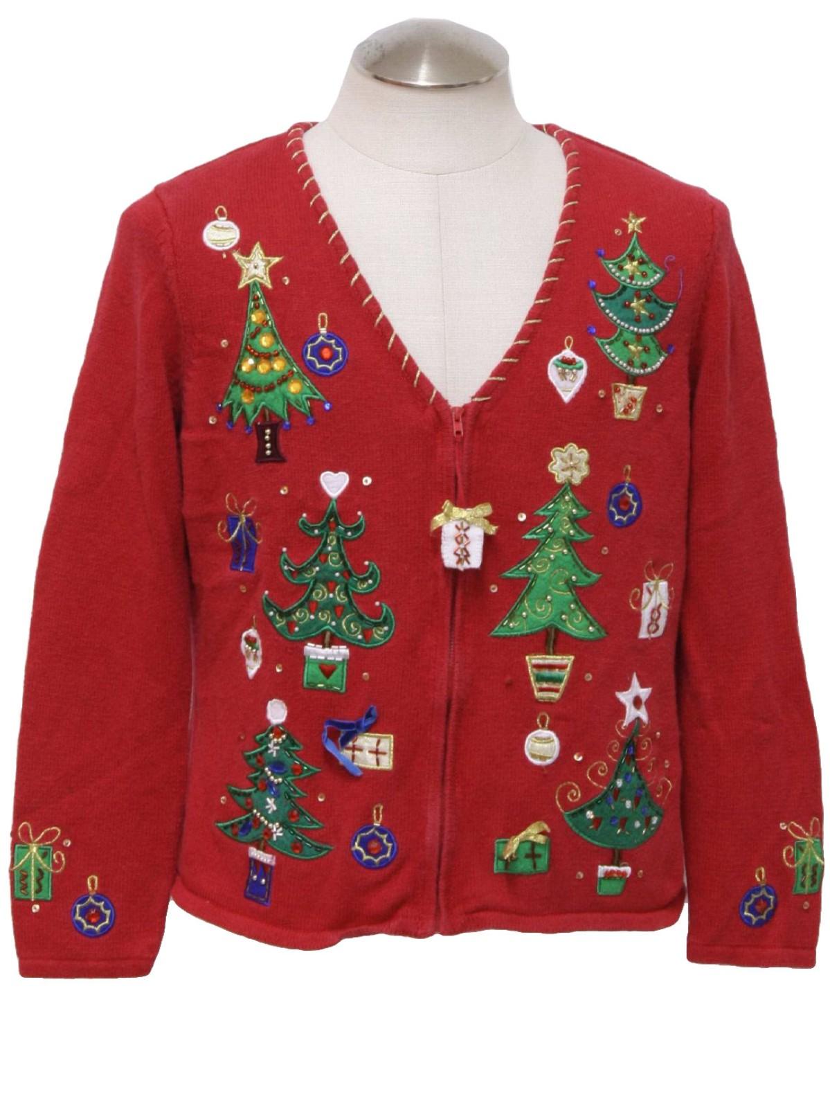 Womens Ugly Christmas Cardigan Sweater: -Tiara- Womens red ...