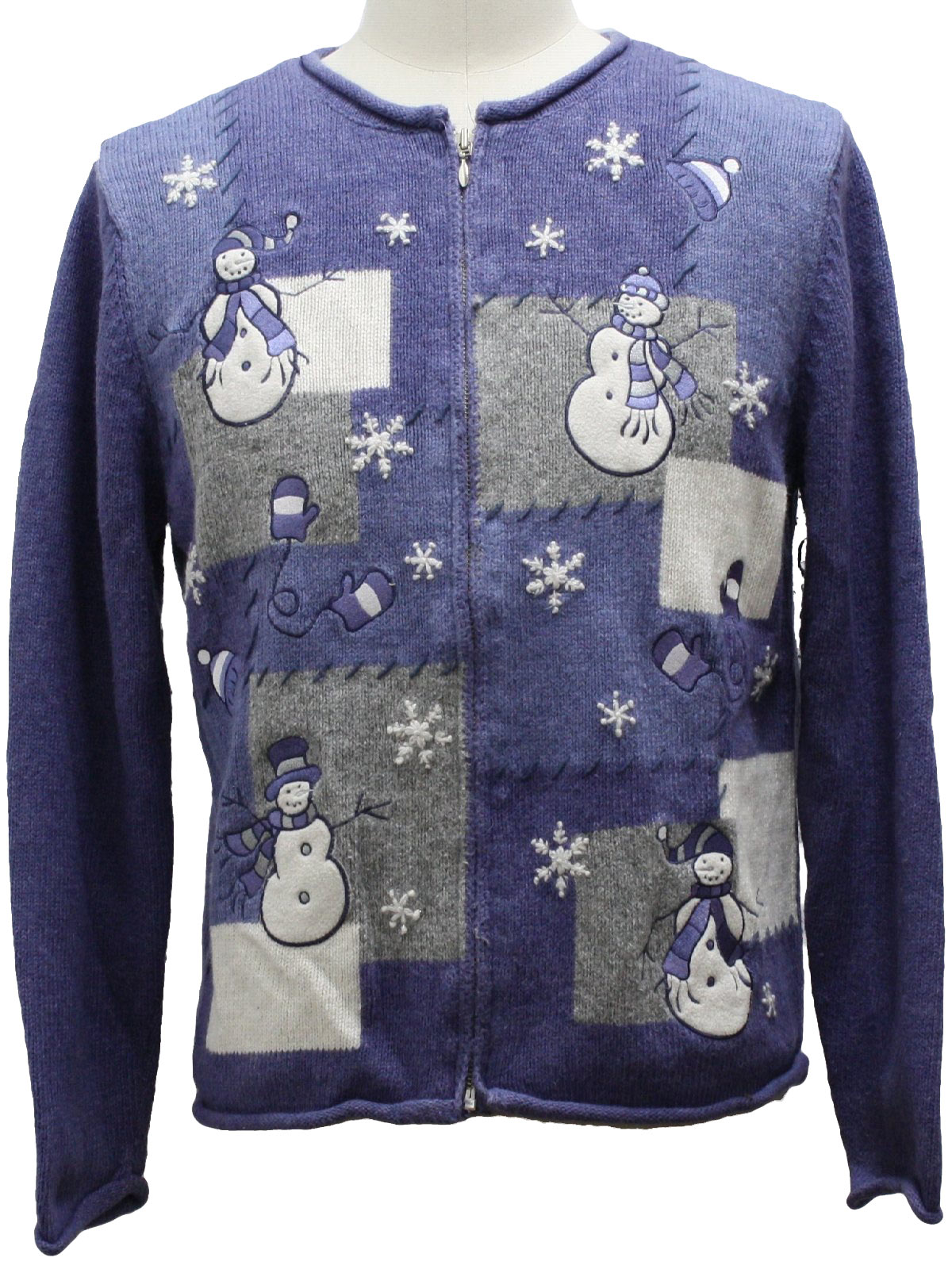 Blue And White Christmas Sweater.Croft Barrow Womens Ugly Christmas Sweater