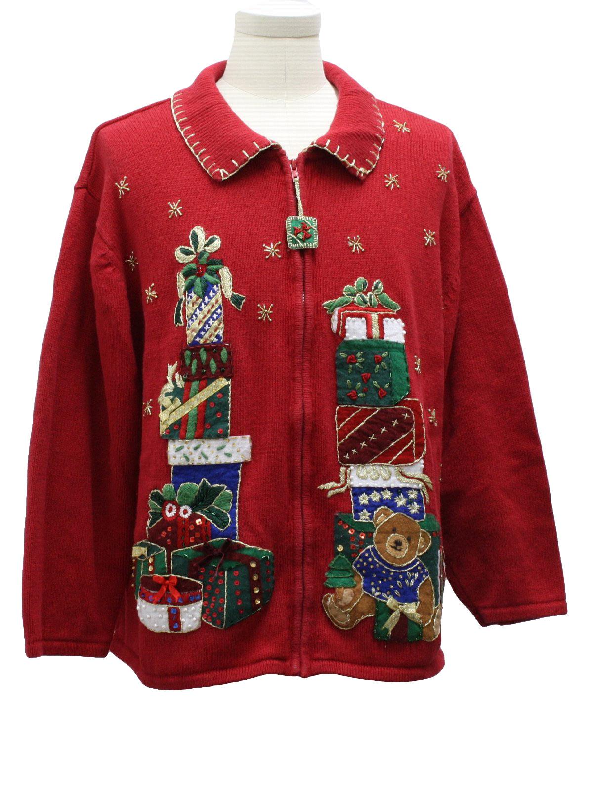 Ugly christmas sweater tiara international unisex red for Over the top ugly christmas sweaters