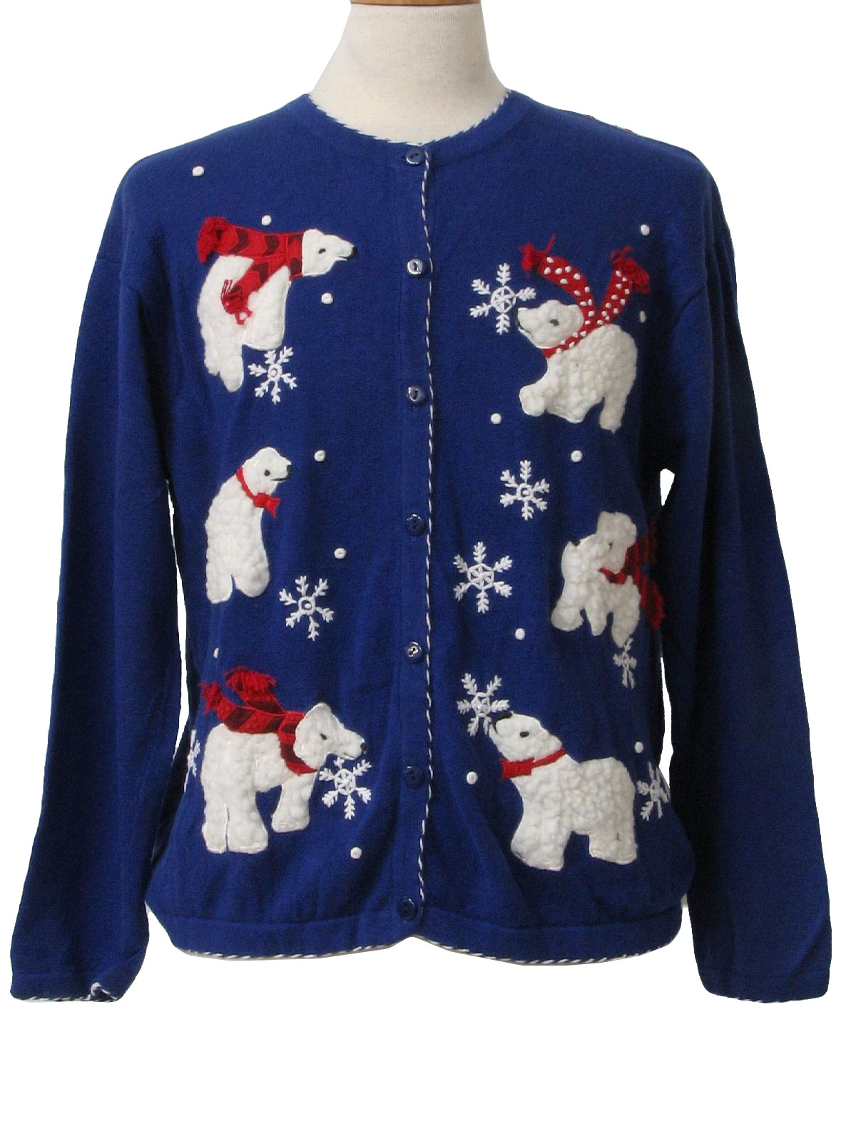 Womens Ugly Christmas Sweater: -Terazzo- Womens royal blue background