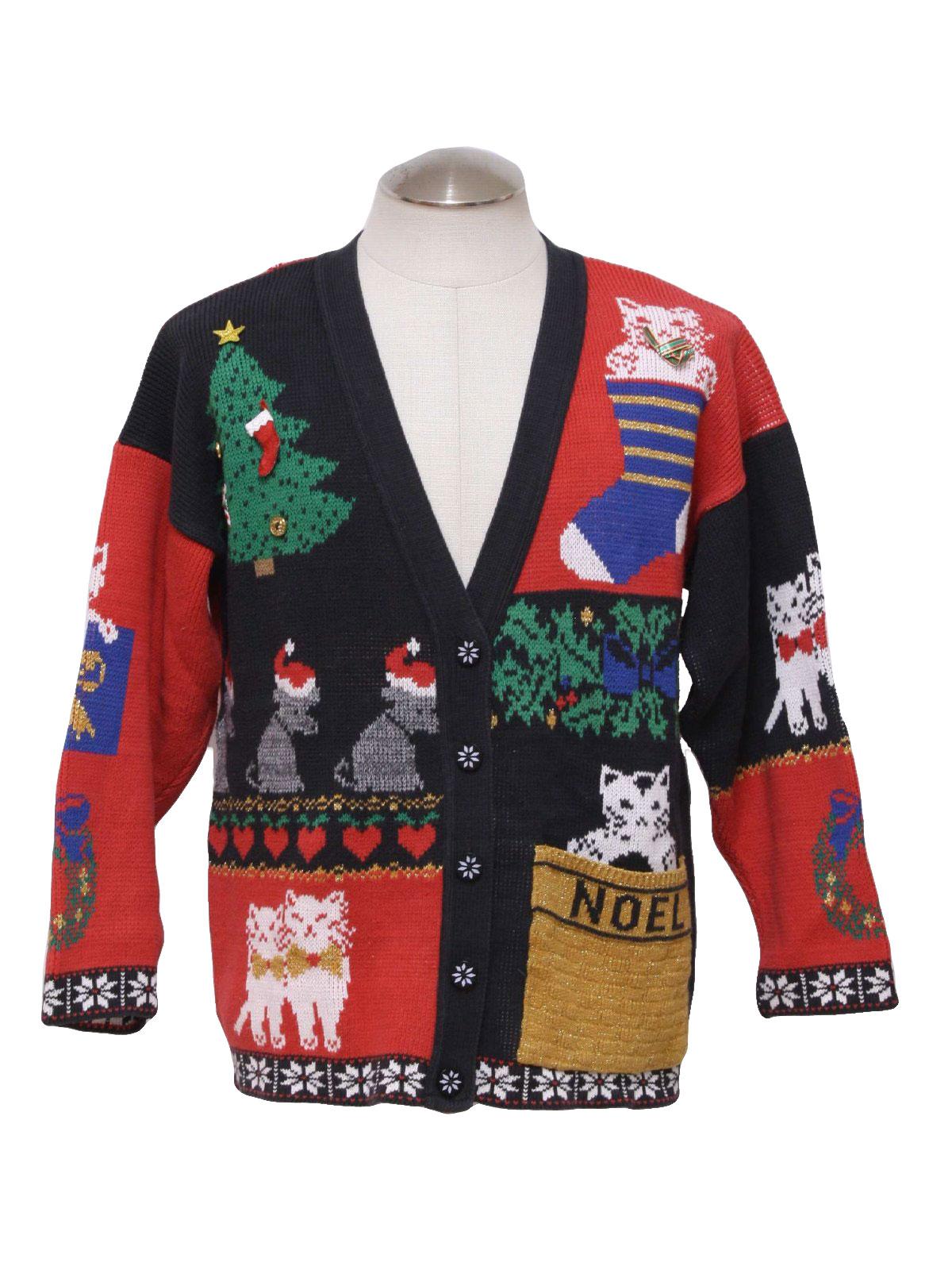 cardigan ugly Christmas Sweater, cardigan neckline with Christmas