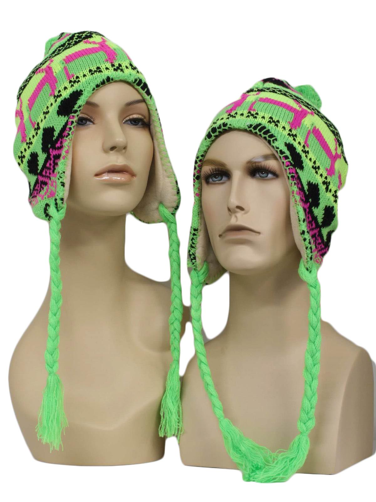 c14080daec654 Neon Reindeer Ugly Christmas Ear Flap Knit Hat  -Winter Wear- Unisex ...