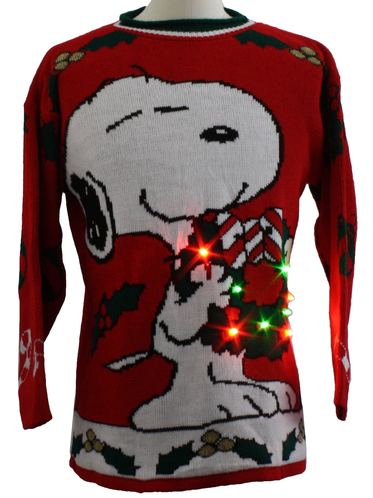Vintage 1980 S Snoopy Lightup Ugly Christmas Sweater 80s