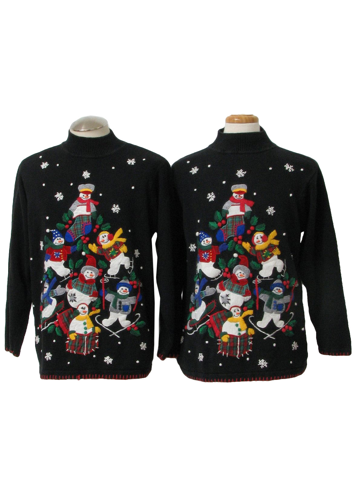 pair of matching ugly christmas sweaters bp design oh snap looks like the duo of the year has just stomped in wearing matching unisex black white