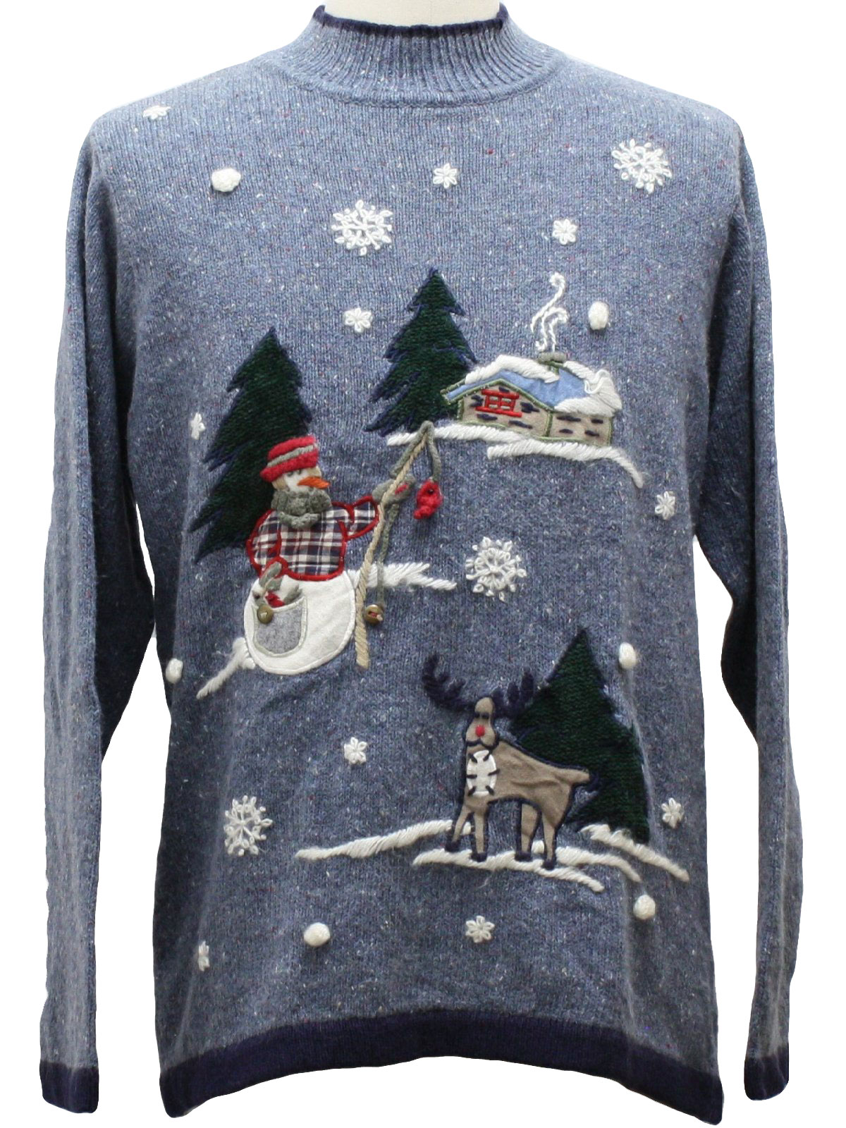 fishing snowman ugly christmas sweater studio collection