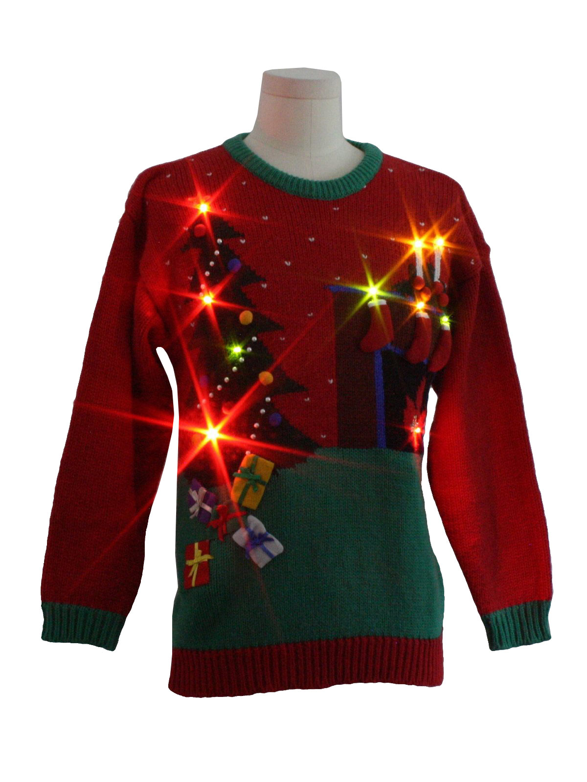 Retro 80 39 S Womens Lightup Ugly Christmas Sweater 80s Authentic Vintage Robinsons Womens Red