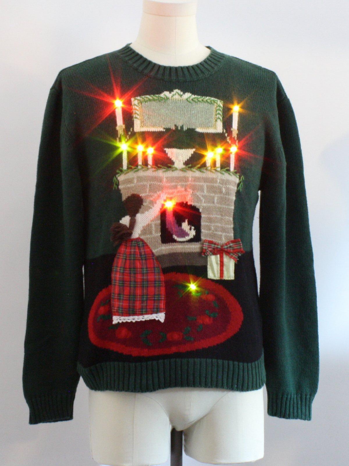 Lightup Ugly Christmas Sweater Lauren Rogers Unisex Dark Green Background Cotton Ramie Blend