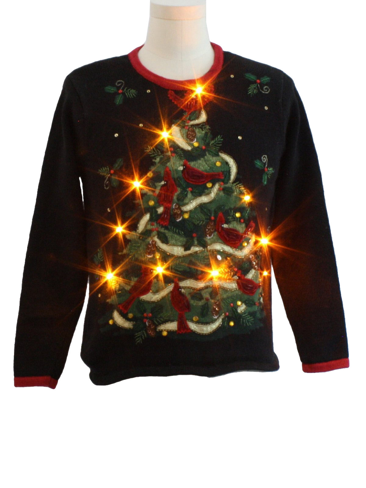Womens Lightup Ugly Christmas Sweater 80s Style
