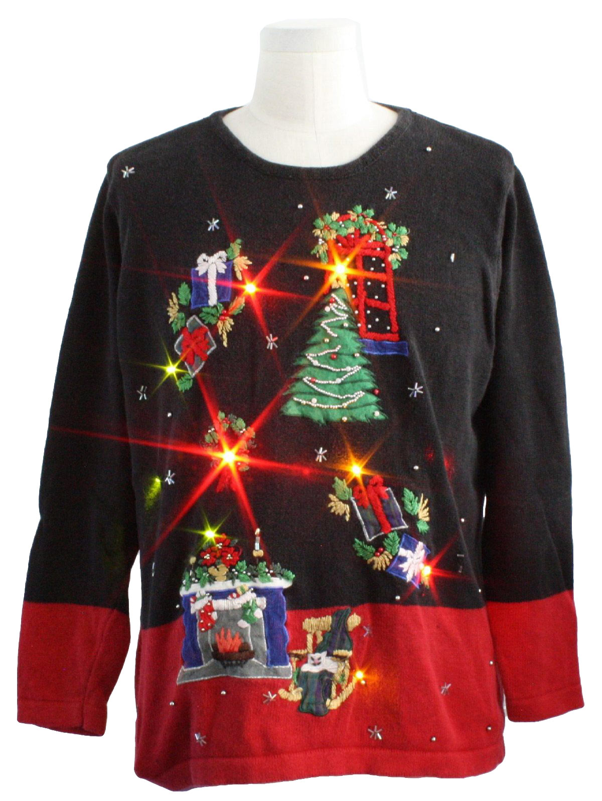 Lightup Ugly Christmas Sweater Victoria Jones Unisex Black And Red Base Backgrounds Ramie