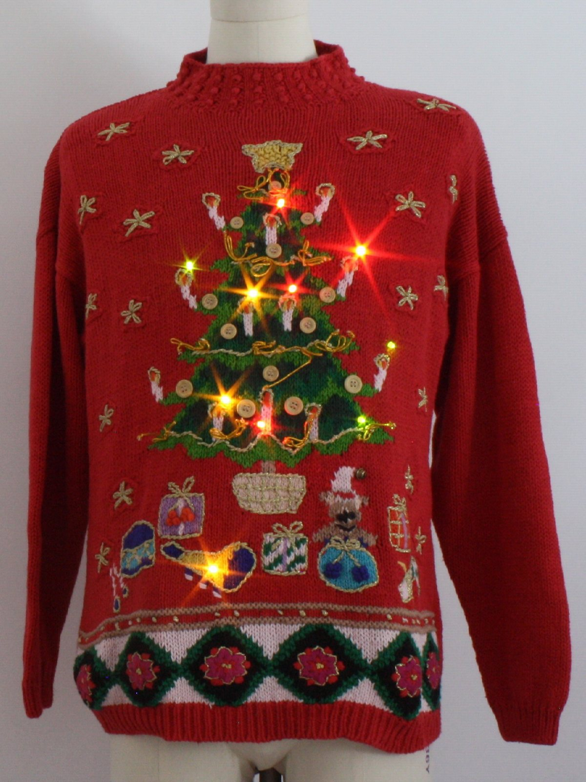 Lightup Ugly Christmas Sweater Bp Design Unisex Red