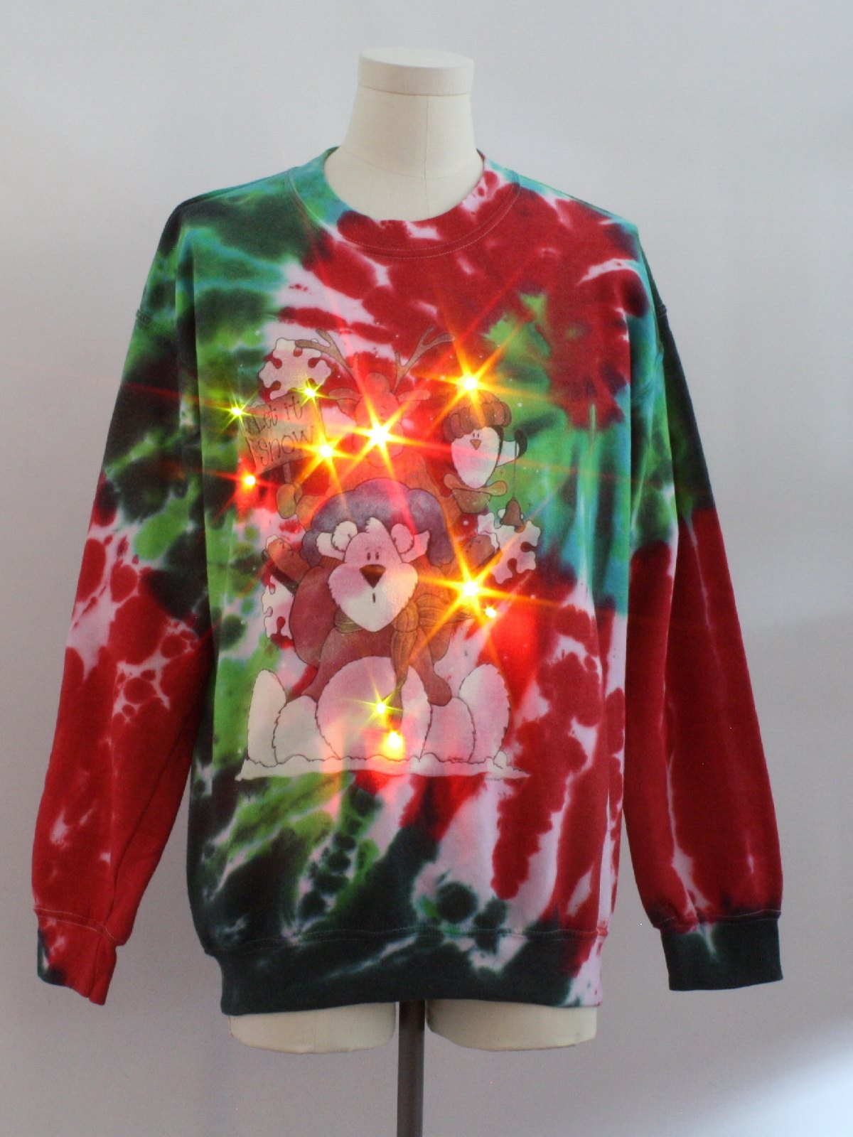 bear riffic tie dyed lightup ugly christmas sweatshirt gildan unisex green blue red and white background cotton polyester pullover hand tie dyed - Light Up Christmas Tie