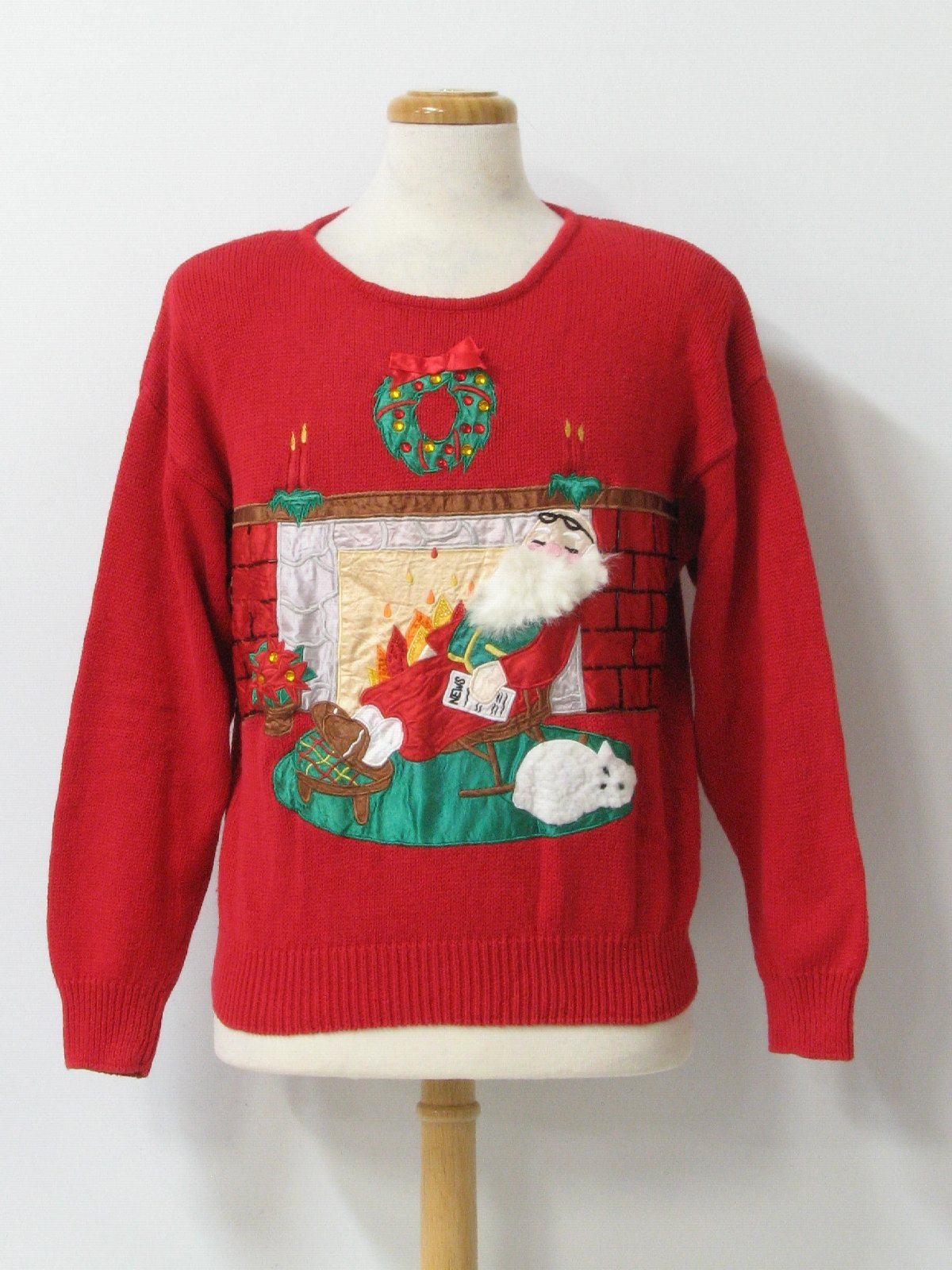 Womens Ugly Christmas Sweater Work In Progress Womens Red Background White Green Yellow